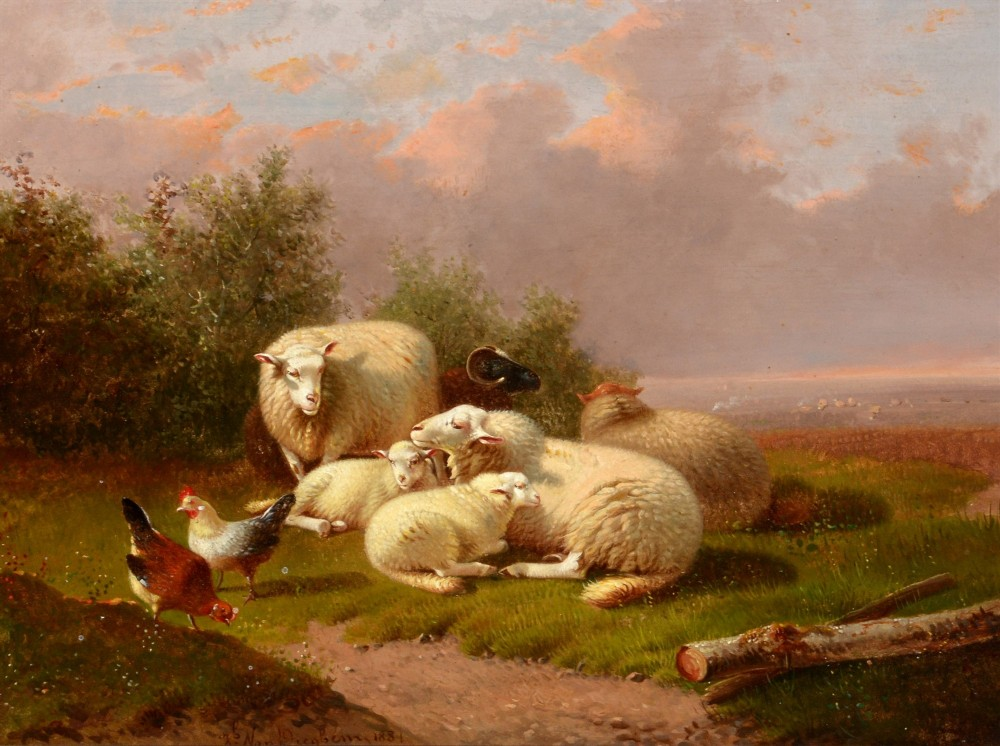 19th century landscape of sheep and poultry in a meadow jacob van dieghem old master