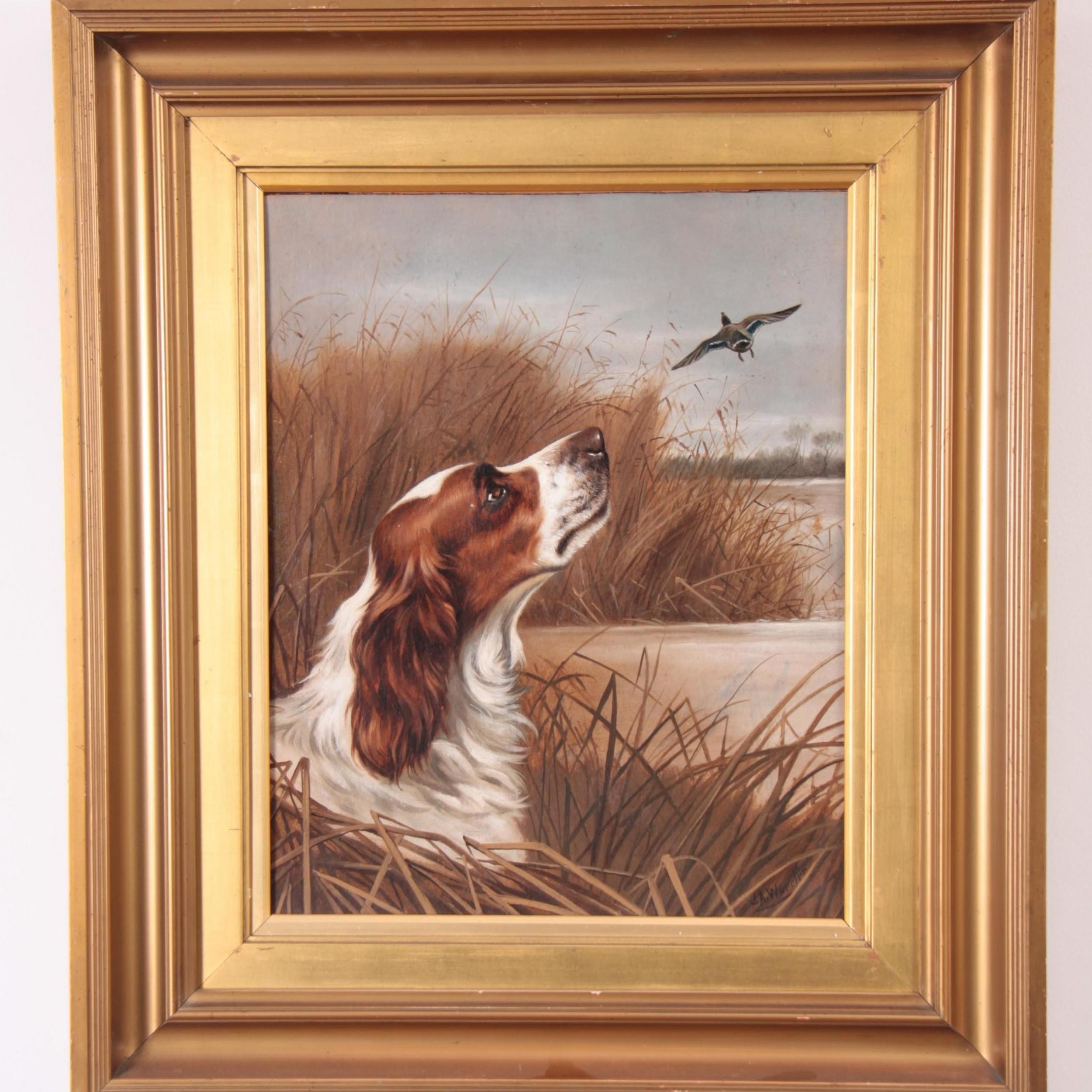 springer spaniel dog flushing a duck landscape oil signed j a wheeler