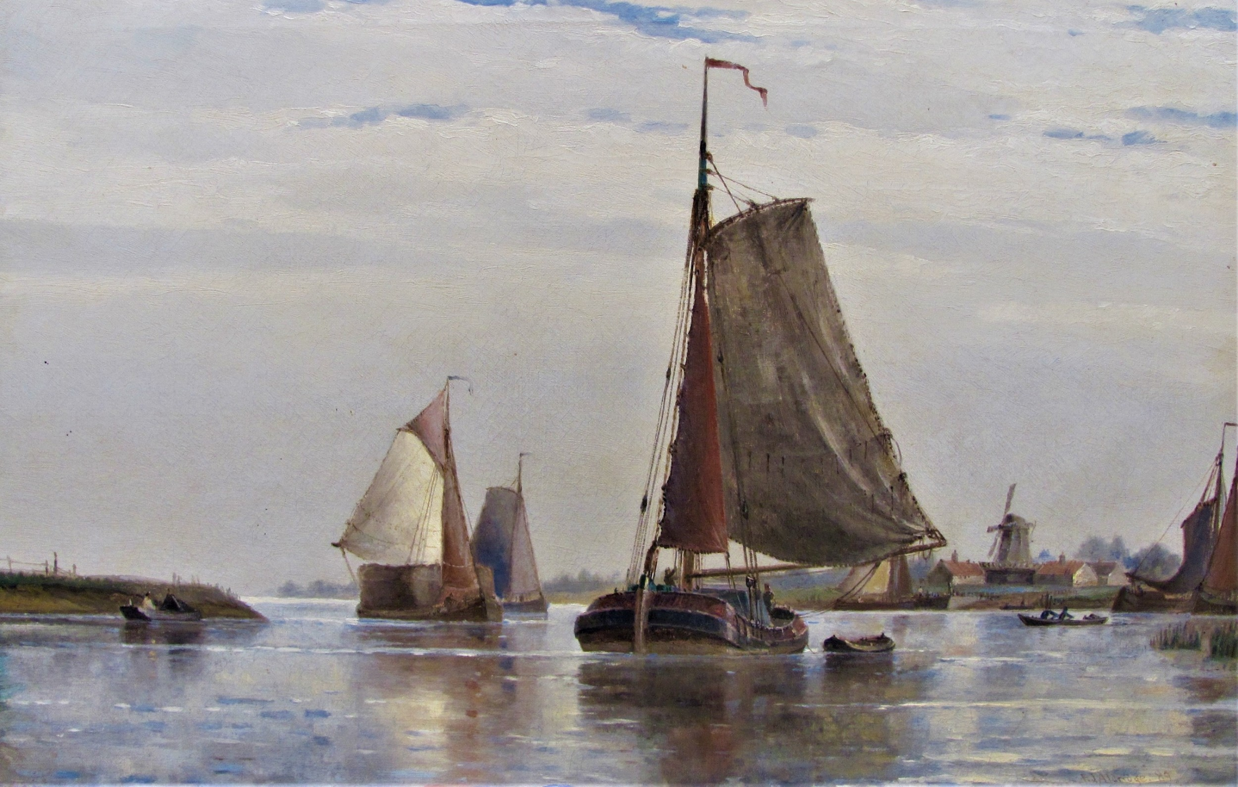 19th century seascape oil 'near dortrecht holland' frederick james aldridge