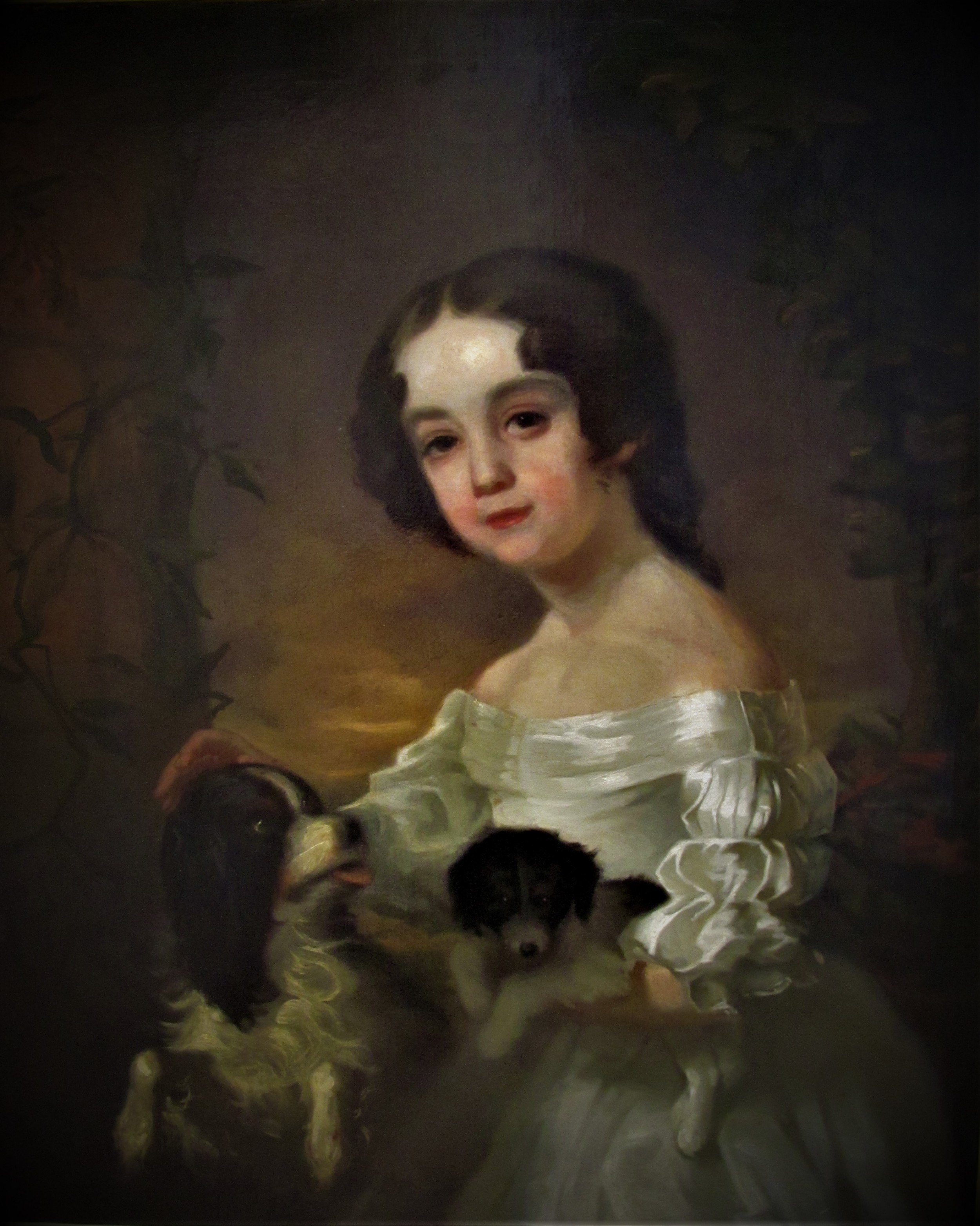 portrait of a girl two dogs 19th century after sir william beechey