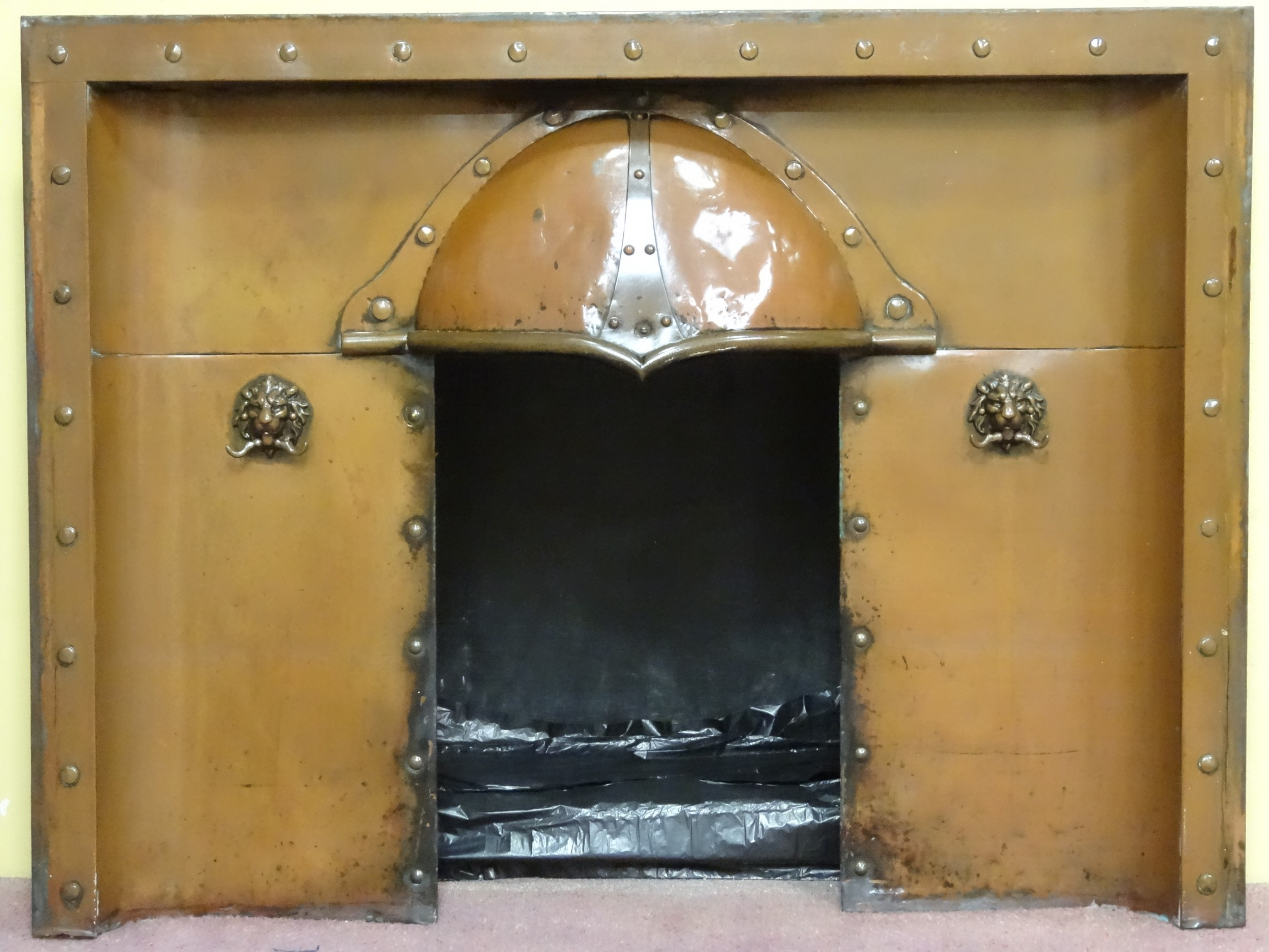 rare antique arts and crafts copper fireplace insert grate