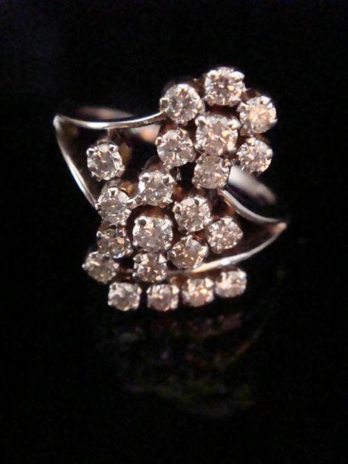 18ct white gold fancy diamond floural cluster ring