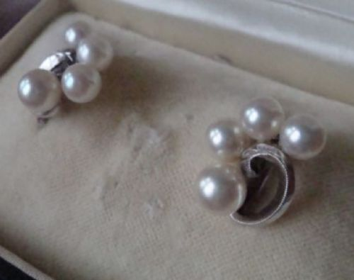 retro cased silver mikimoto cultured pearl earrings