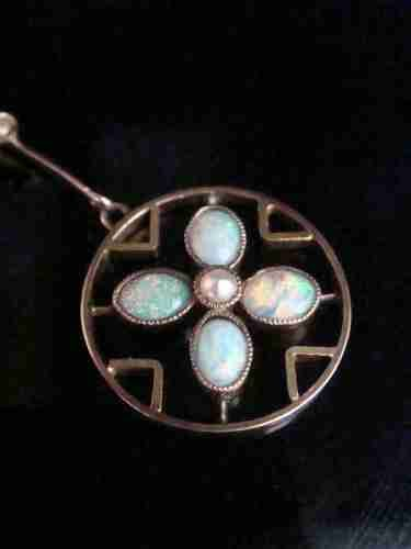 edwardian 9ct yellow gold natural opal and seed pearl necklace