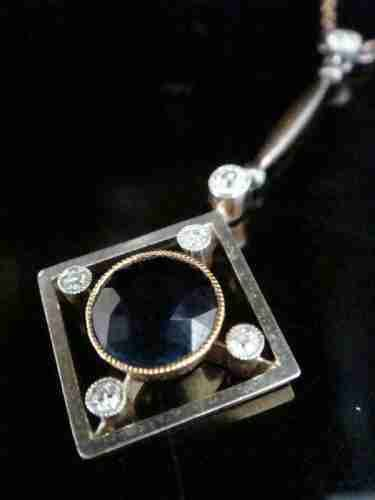 edwardian 15ct platinum natural sapphire and diamond necklace
