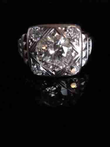 art deco platinum large diamond solitaire 120ct