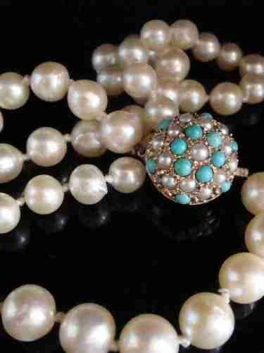 edwardian 9ct cultured saltwater pearl necklace with turquoise and pearl clasp