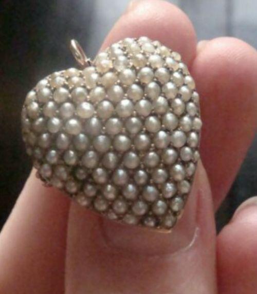 victorian original 15ct high carat seed pearl puff heart pendant brooch large