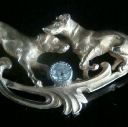 18ct art nouveau french ornate rose cut diamond playing dogs dog brooch