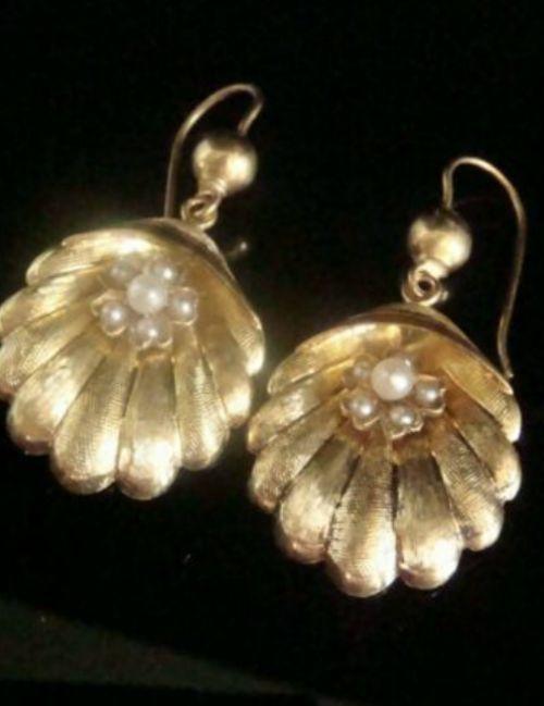 original victorian high carat 15ct large shell cultured pearl drop earrings