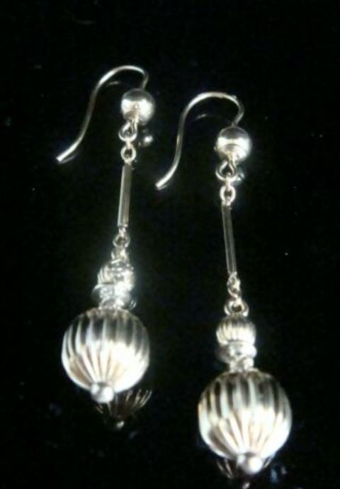 original victorian 9ct yellow gold large drop ball earrings