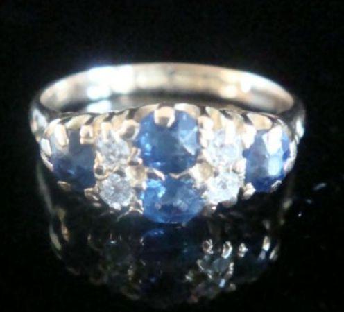 edwardian 18ct natural cushion cut sapphire and diamond boat ring