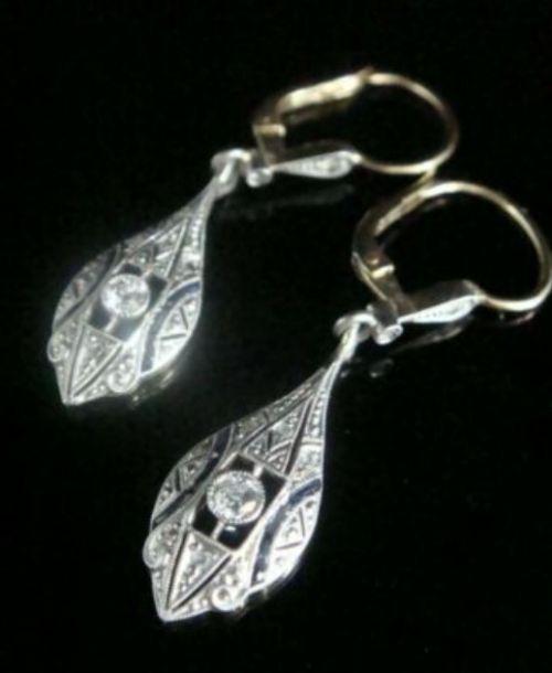 art deco french 18ct yellow gold platinum sapphire diamond drop earrings