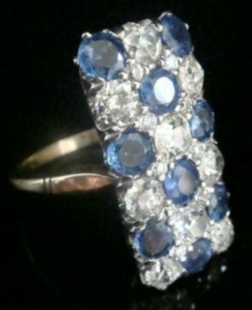 edwardian 1920s 18ct platinum art deco pave sapphire old cut diamond 190 ring