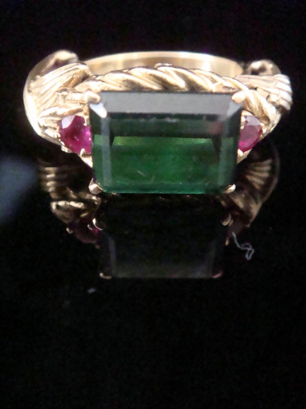 retro heavy 18ct yellow gold tourmaline and ruby designer ring