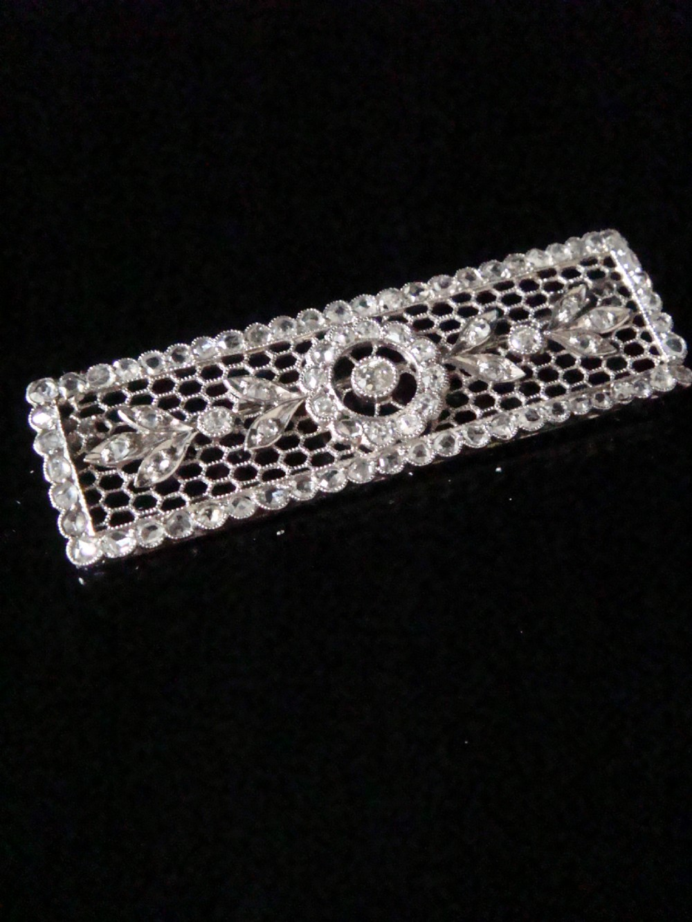 edwardian french platinum rose cut diamond brooch