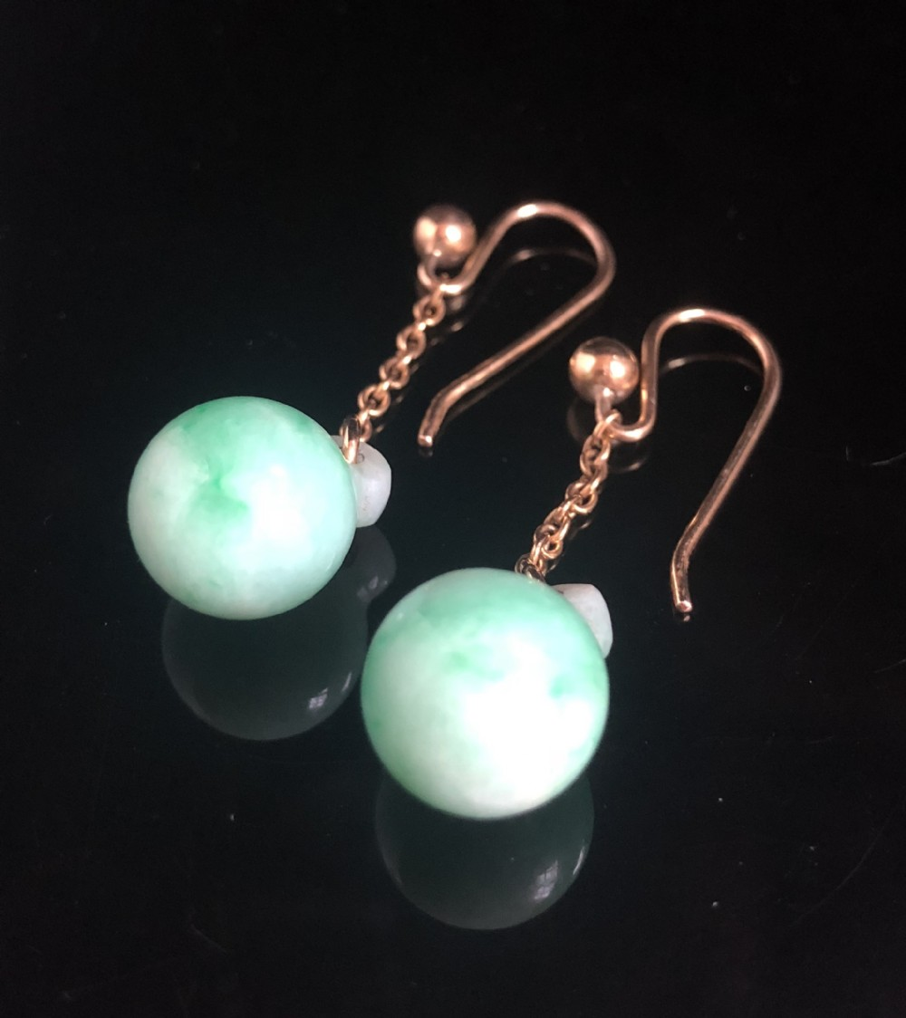 edwardian 9ct natural large jade drop earrings