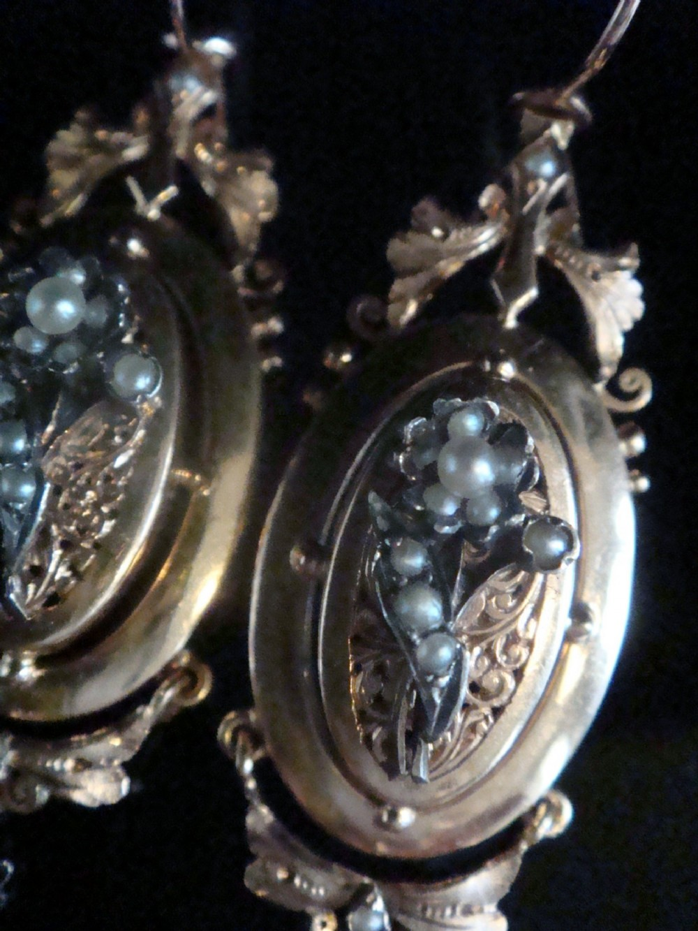 french edwardian 18ct cultured pearl ornate large drop earring