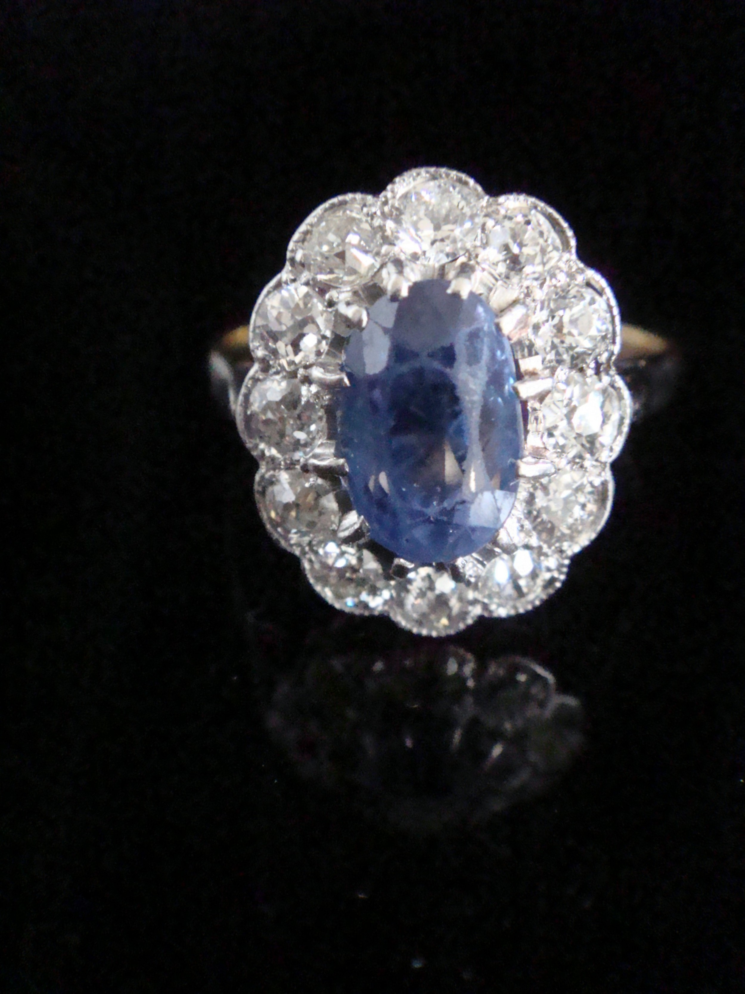 edwardian 18ct platinum natural sapphire and diamond cluster ring