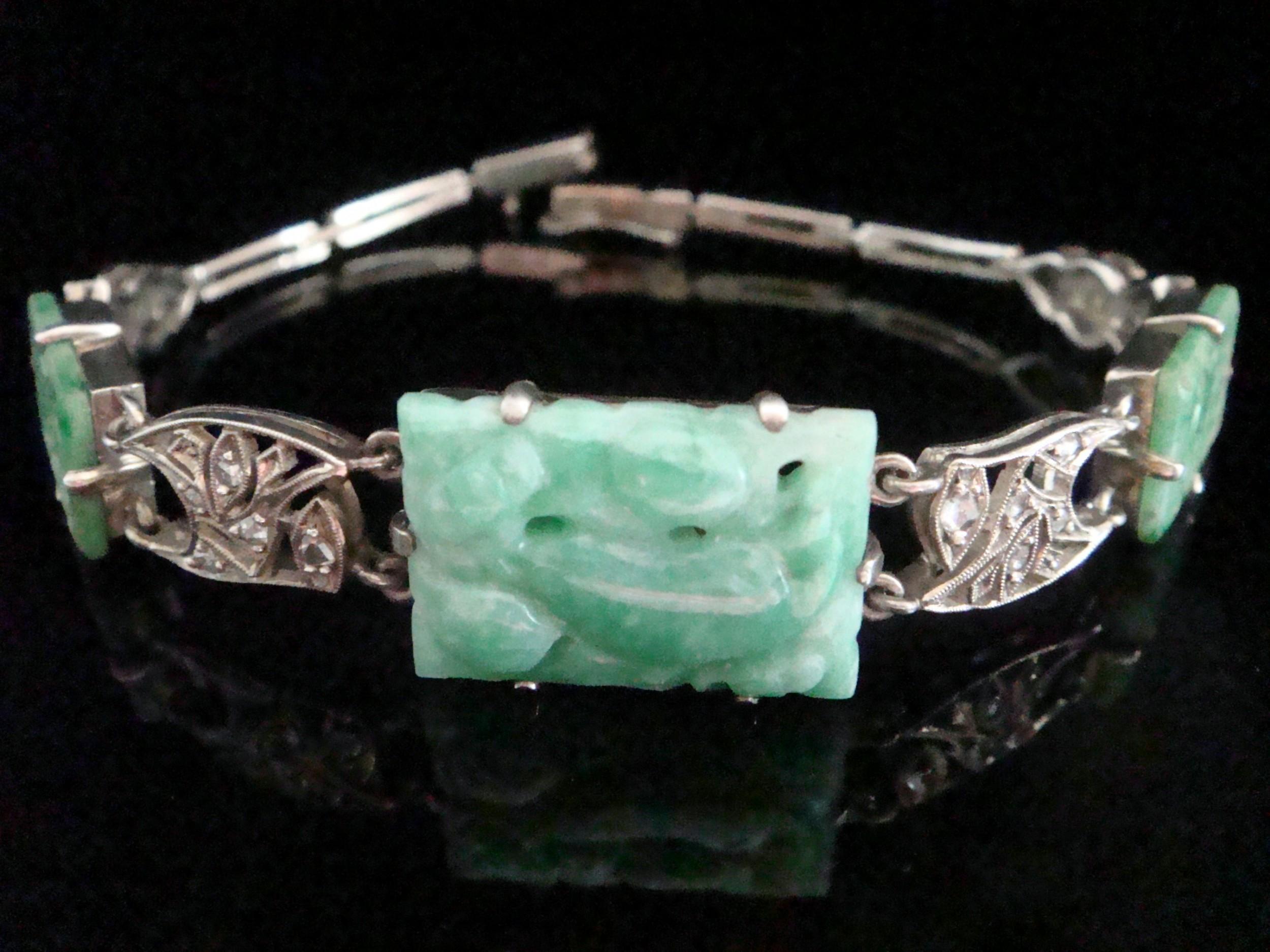 edwardian silver natural jade and old cut diamond bracelet