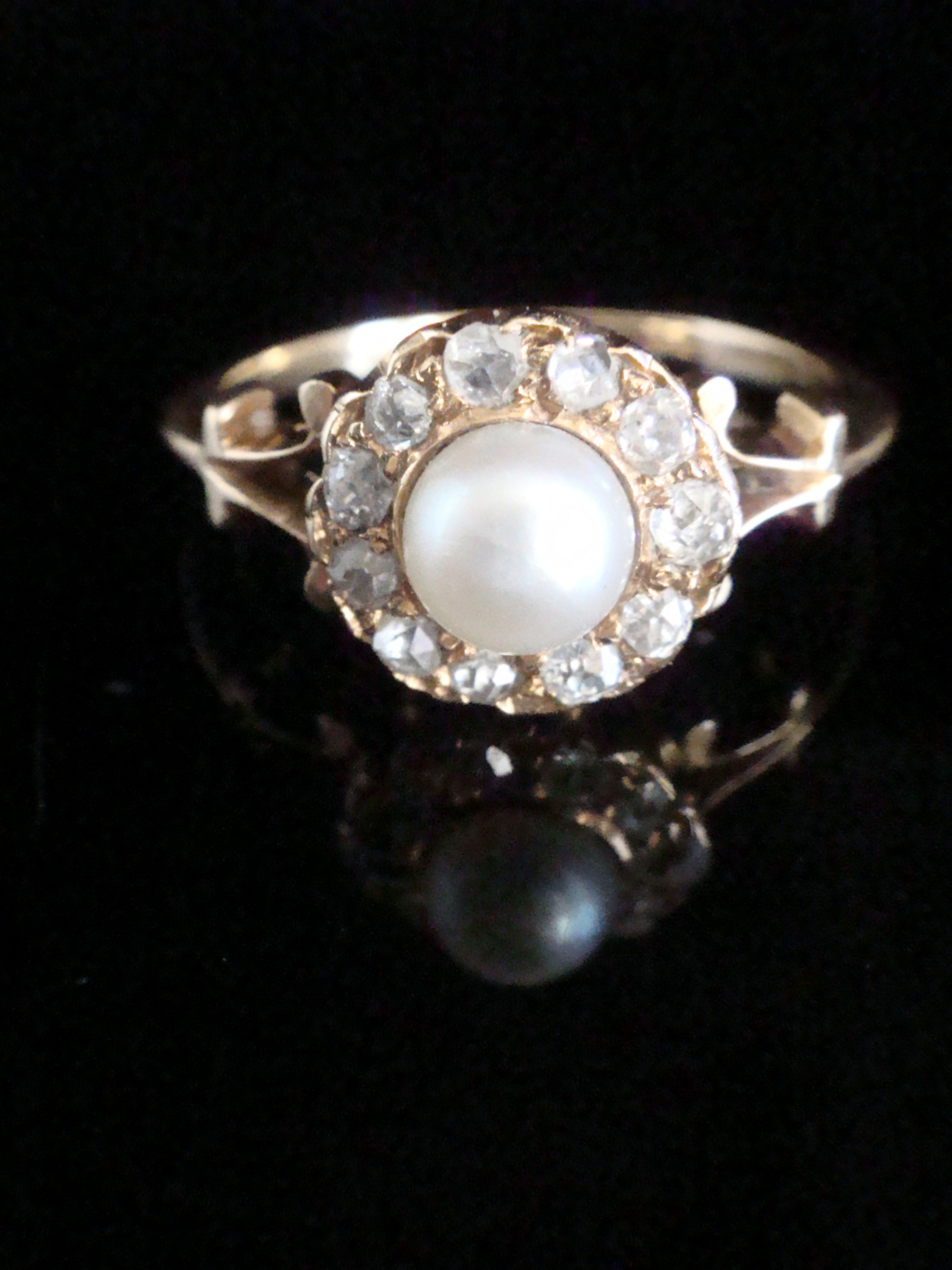 edwardian 18ct cultured pearl and old cut diamond cluster ring in yellow gold