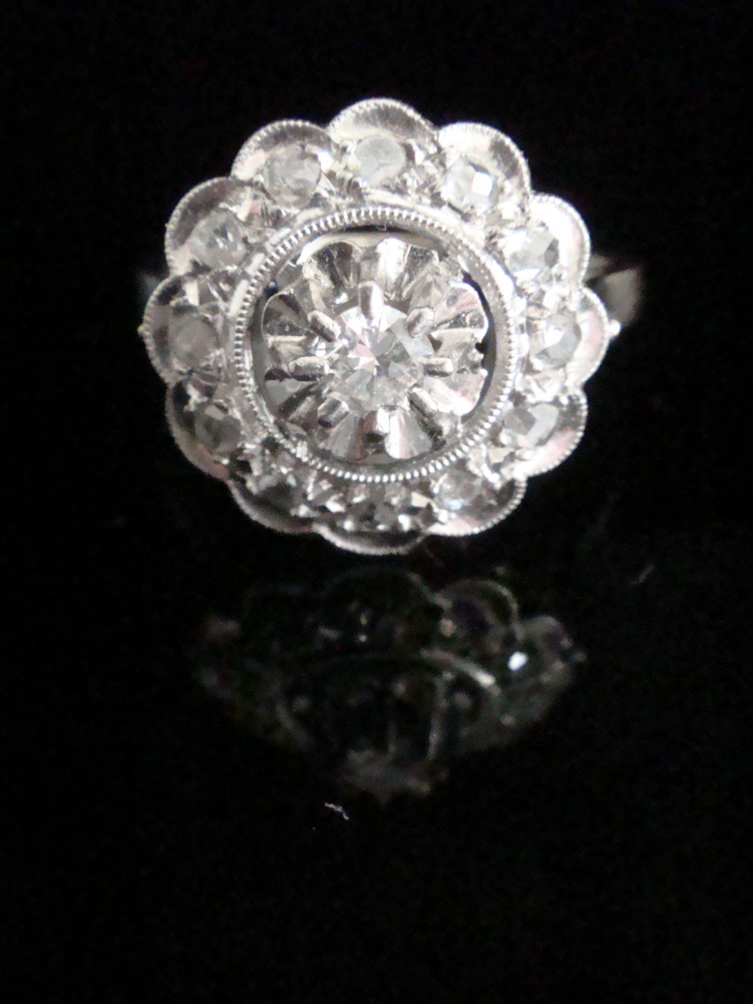 art deco french platinum white gold old cut diamond target cluster ring