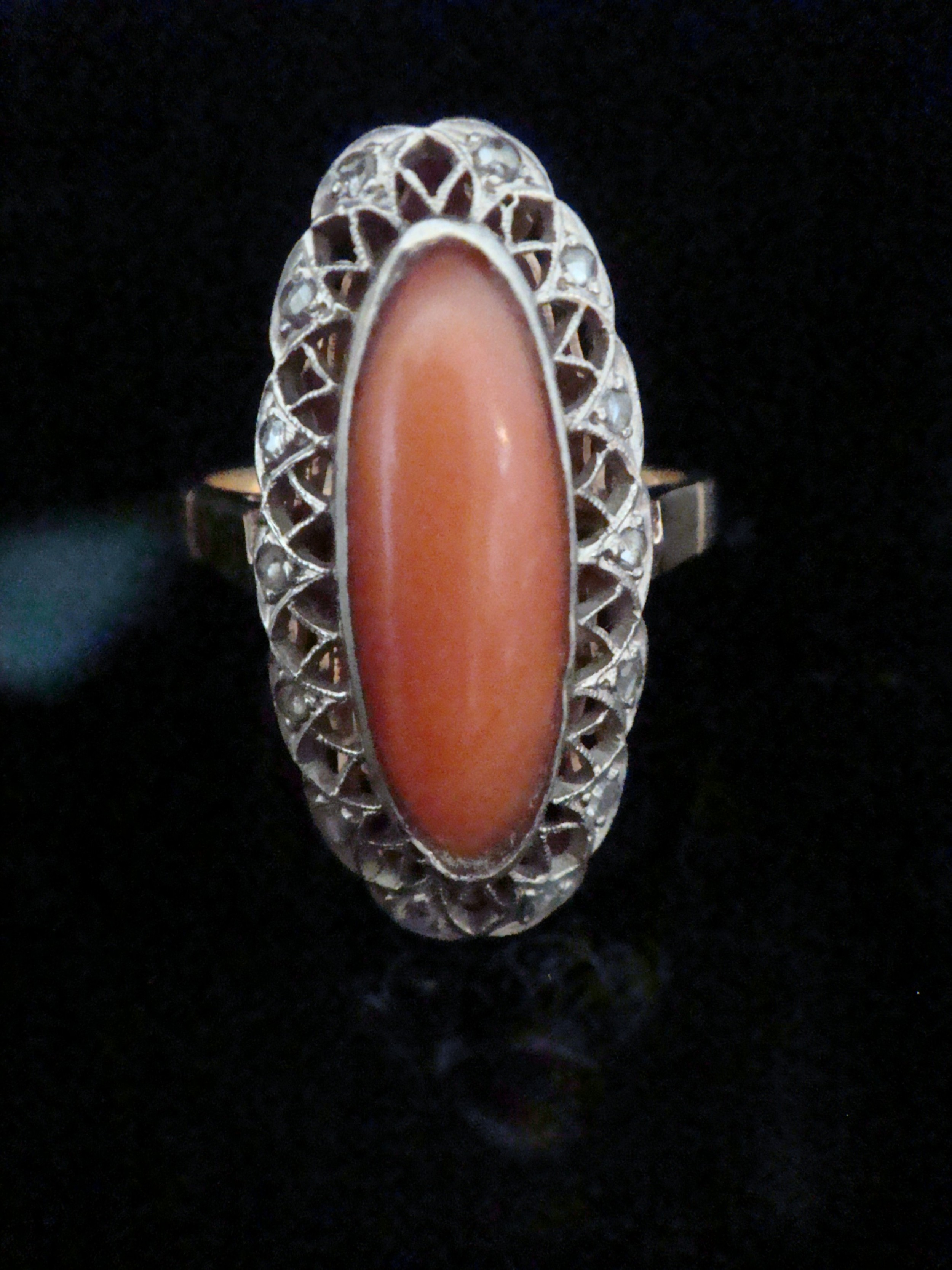 edwardian natural coral and diamond ring set in 18ct yellow gold