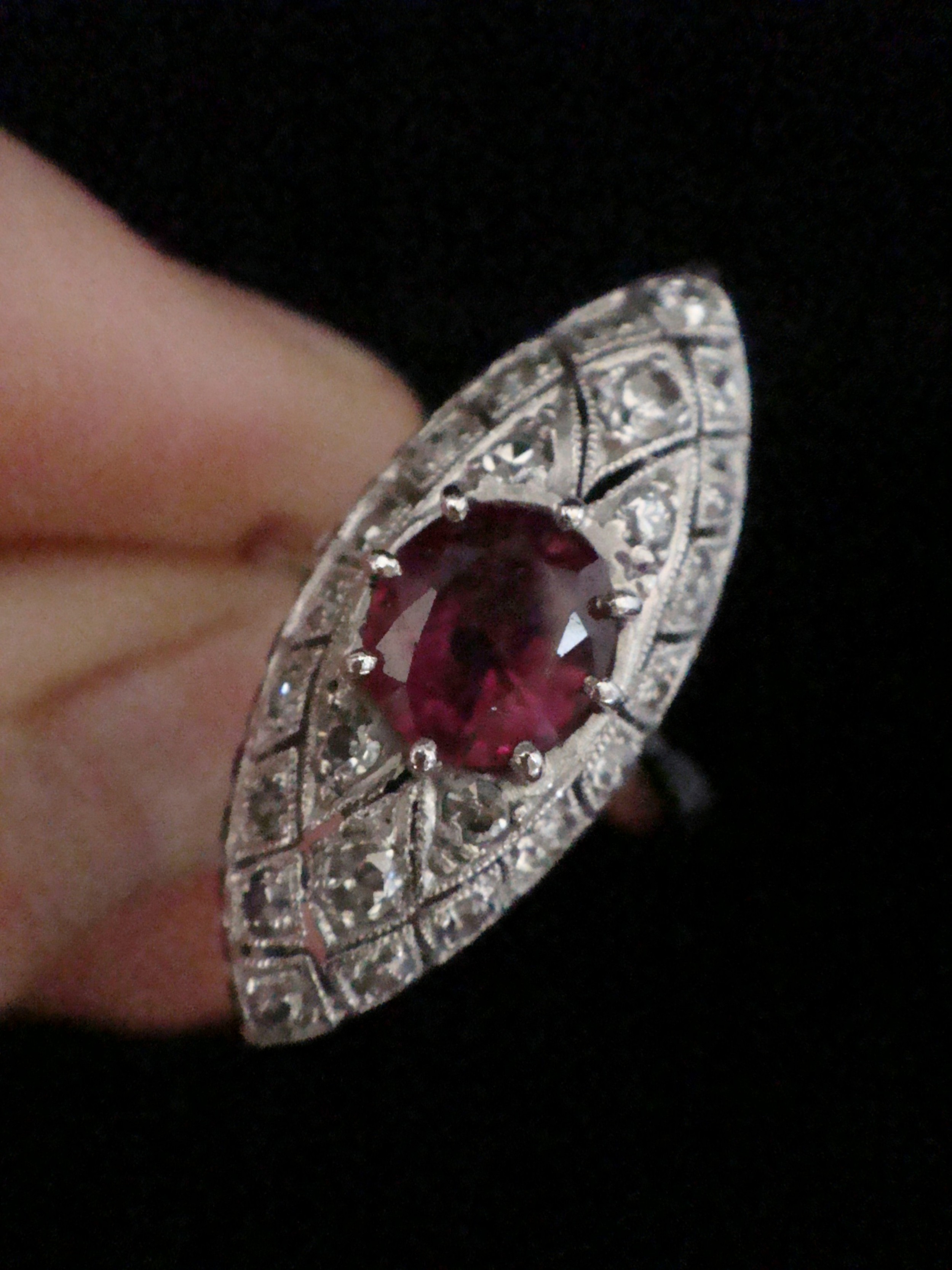 stunning art deco 18ct ruby and diamond marquis ring