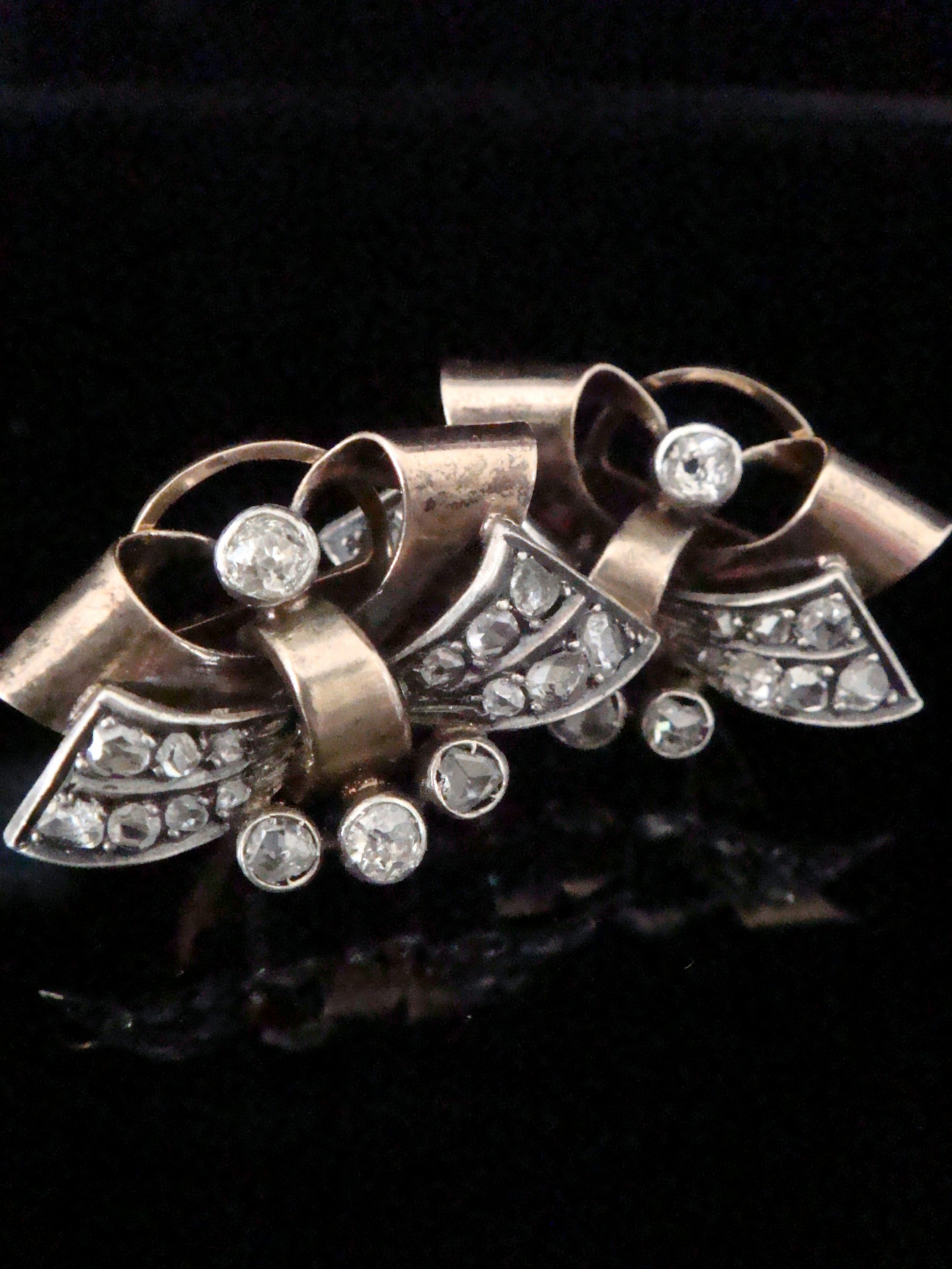 art deco 18ct rose and white gold old cut diamond clip earrings