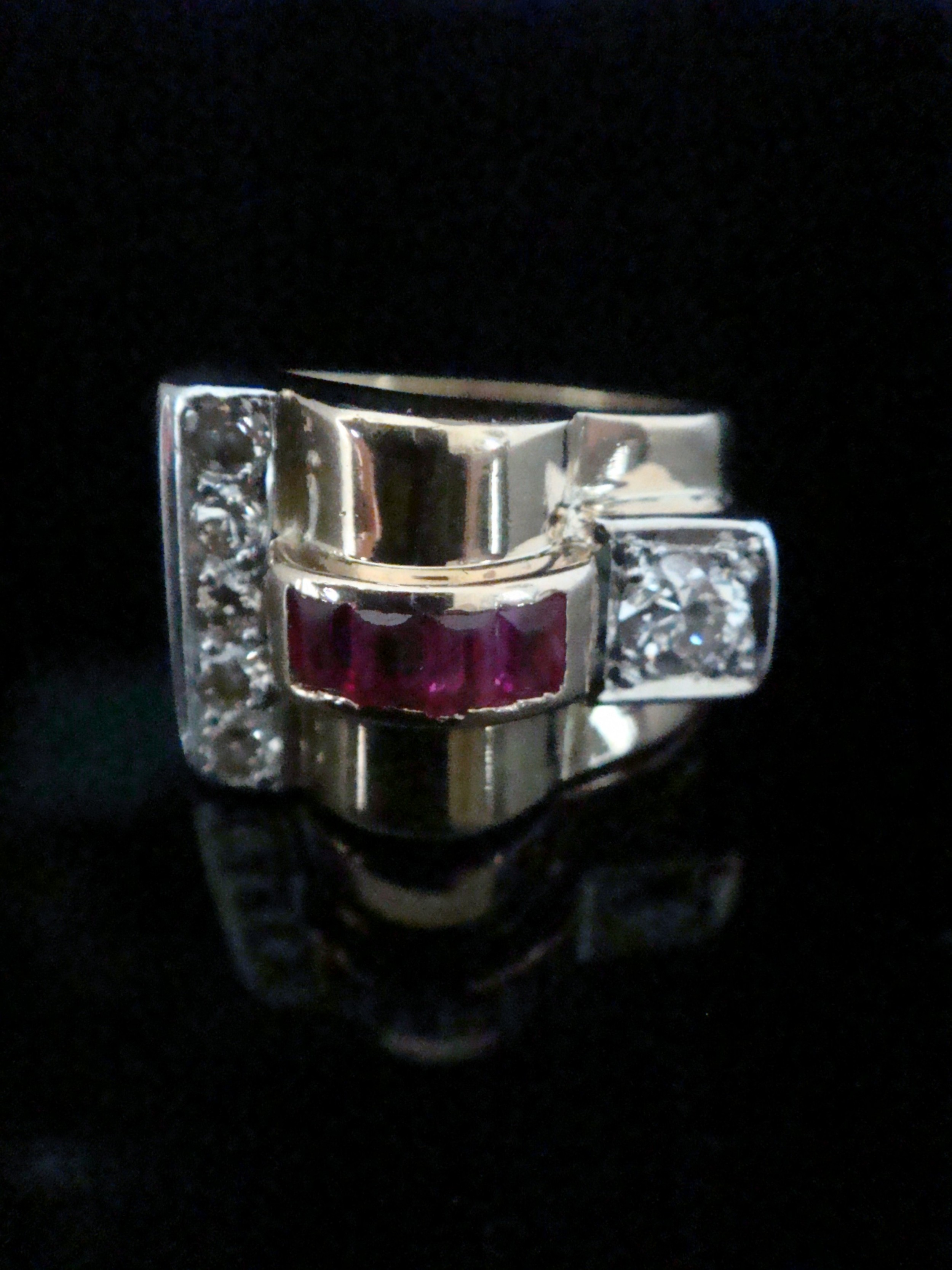 retro 18ct french tank yellow gold ruby and diamond cocktail ring