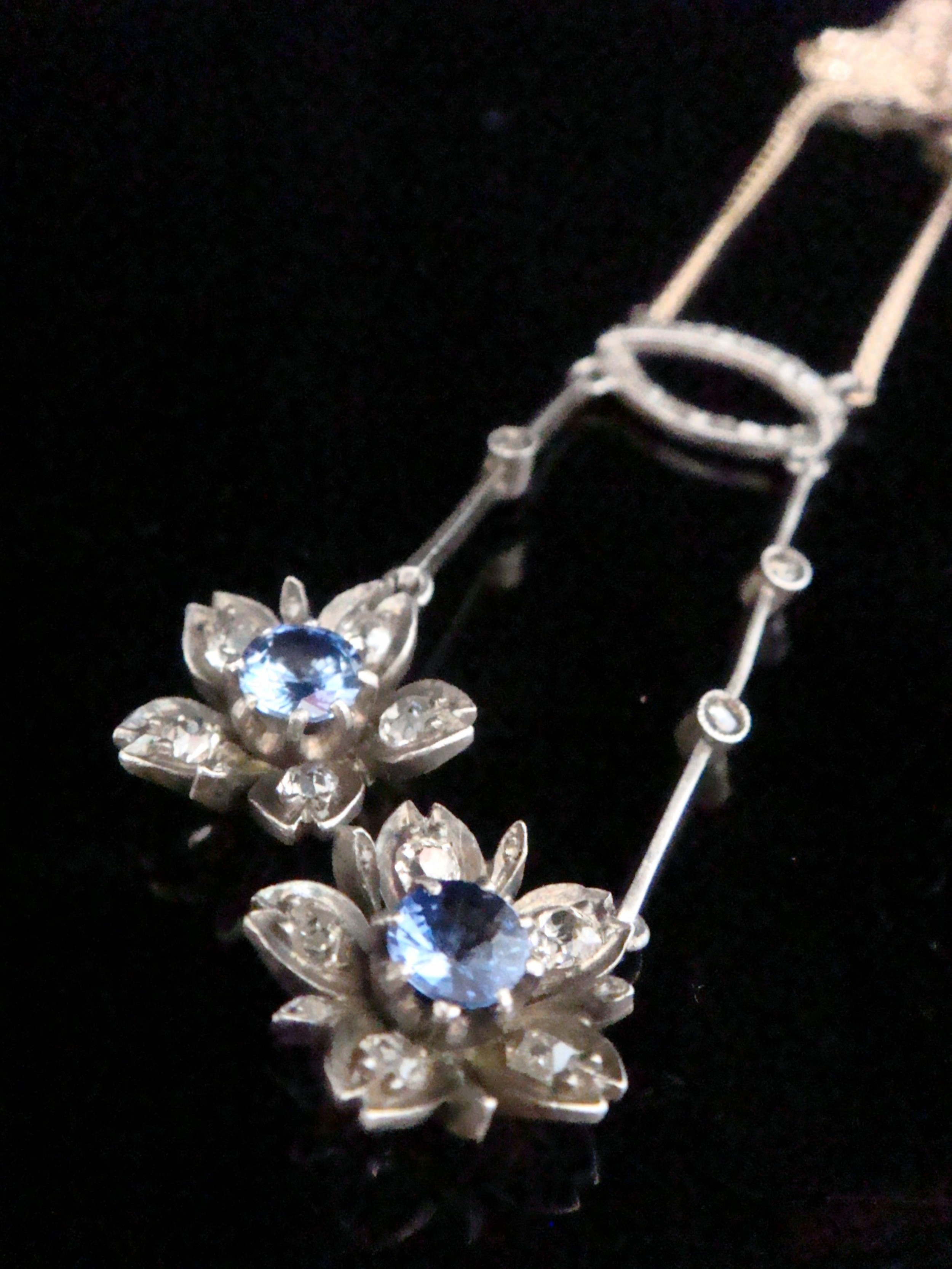 edwardian french sapphire and diamond lavaliere set in 18ct yellow gold