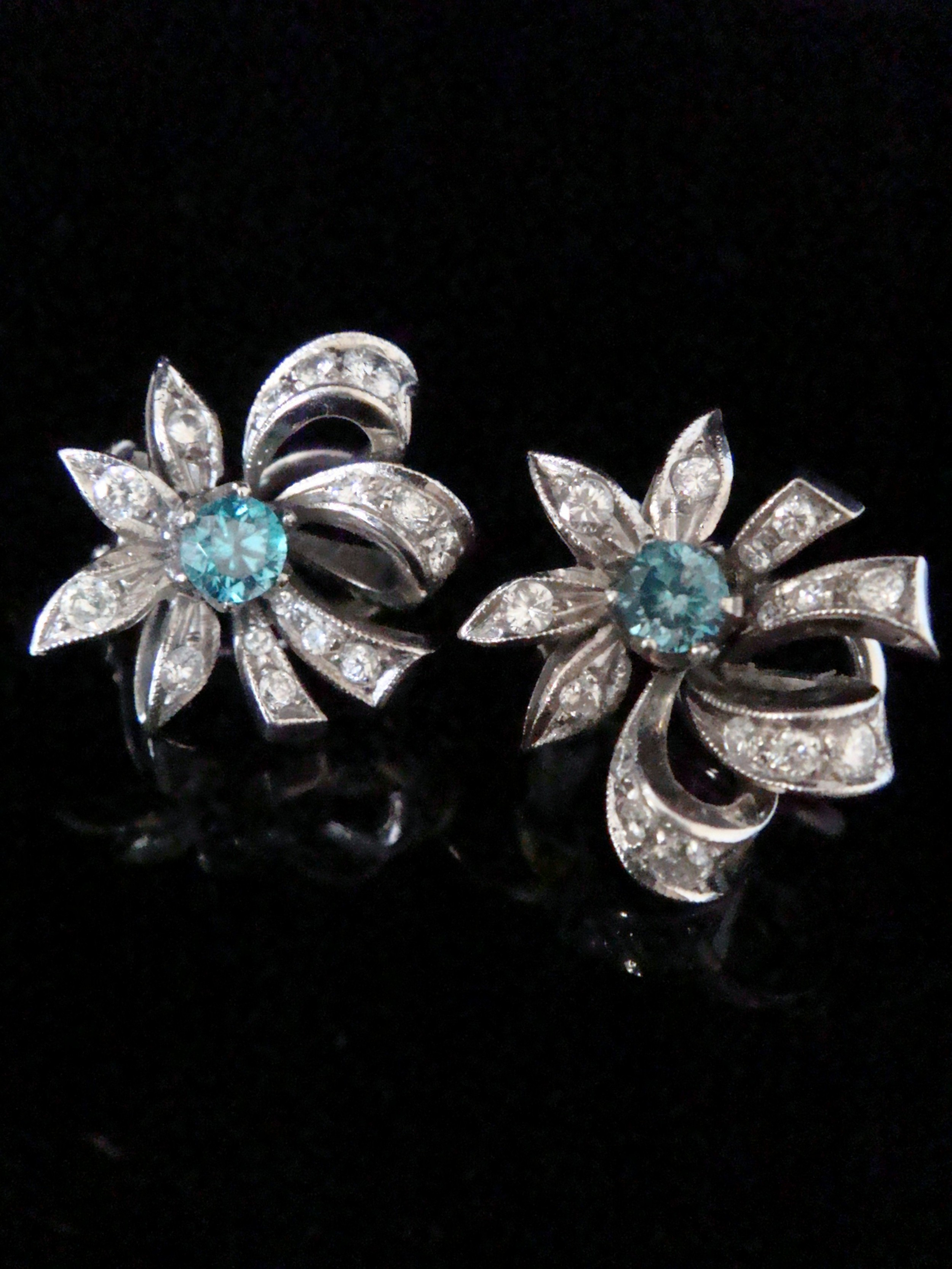 edwardian 18ct white gold natural blue zircon and diamond earrings