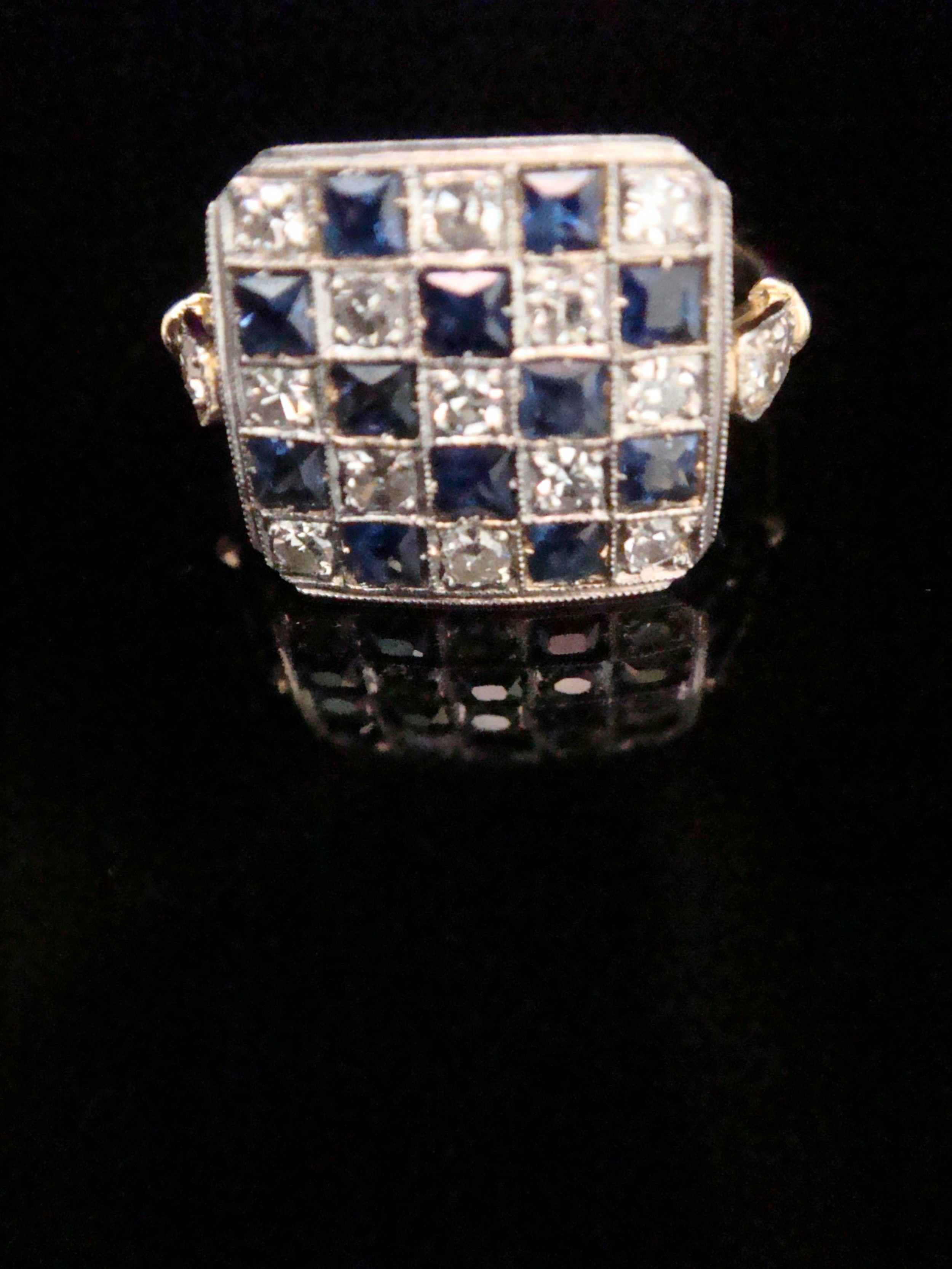 edwardian 18ct yellow gold platinum natural sapphire and diamond pave set ring