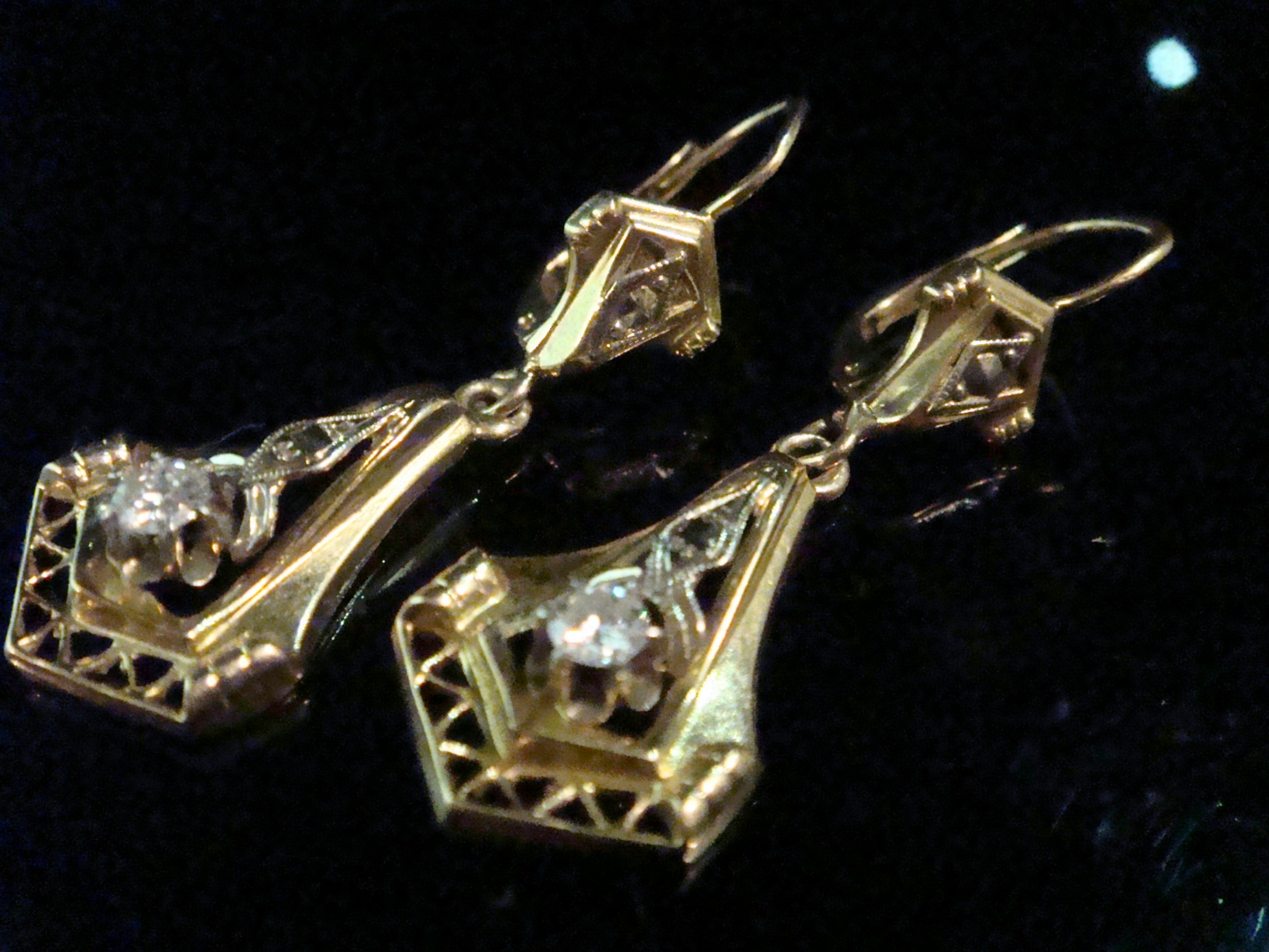 edwardian french 18ct brilliant cut diamond drop earrings