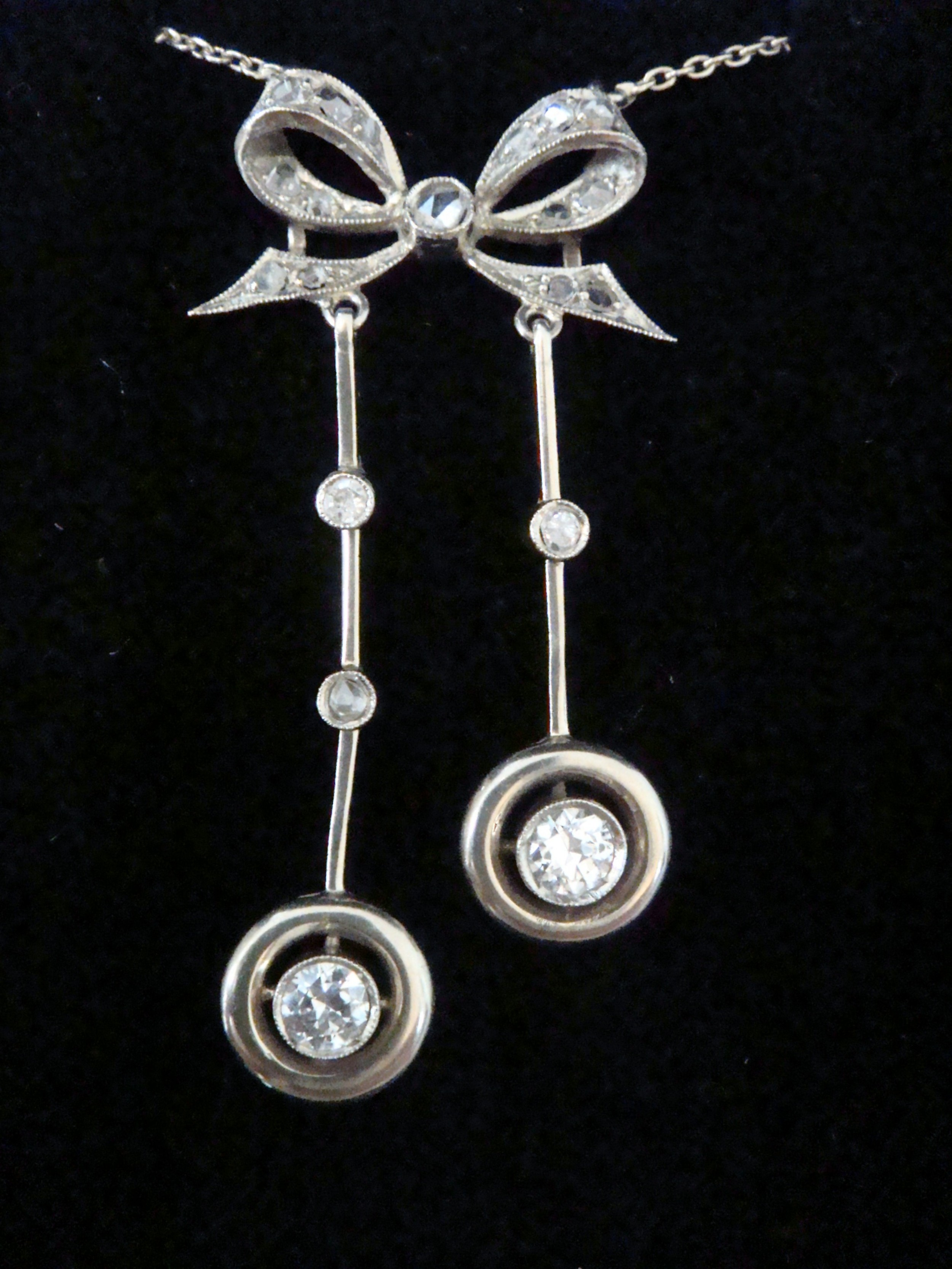 french edwardian 18ct white gold transitional and rose cut diamond lavaliere necklace