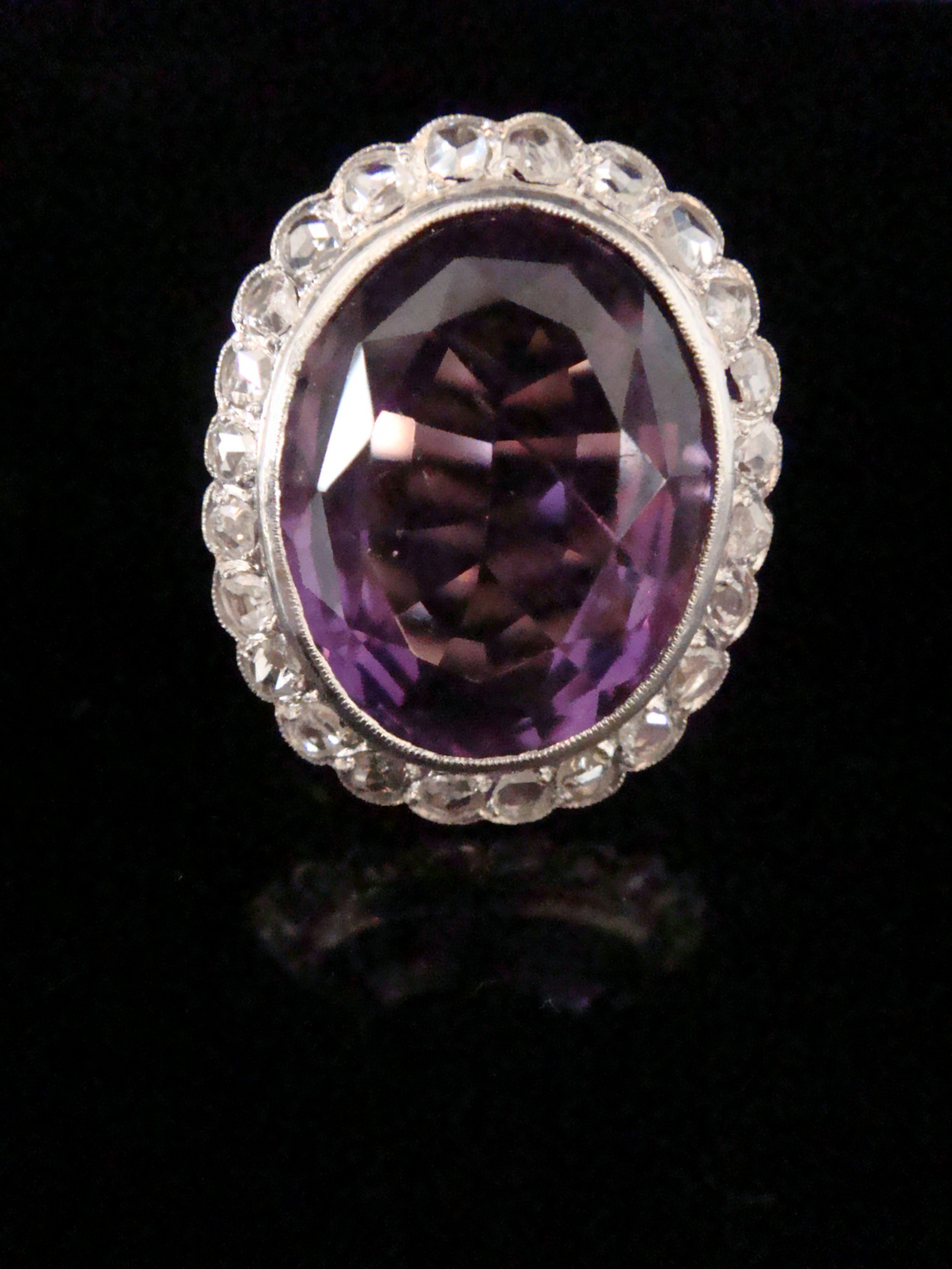edwardian 18ct yellow gold platinum 1012ct amethyst and rose cut diamond 090ct100ct cluster