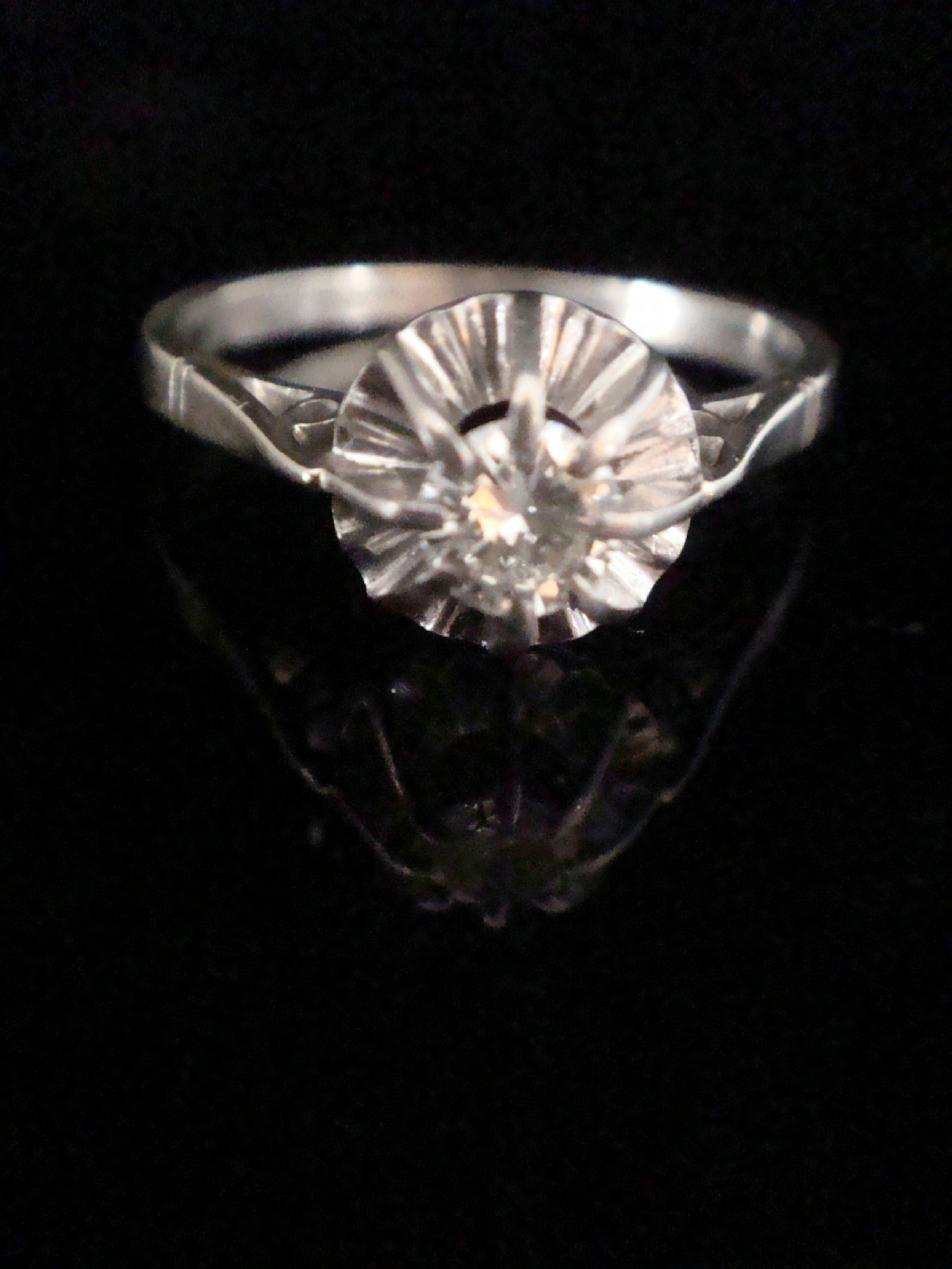 edwardian french 18ct white gold 030ct diamond solitaire