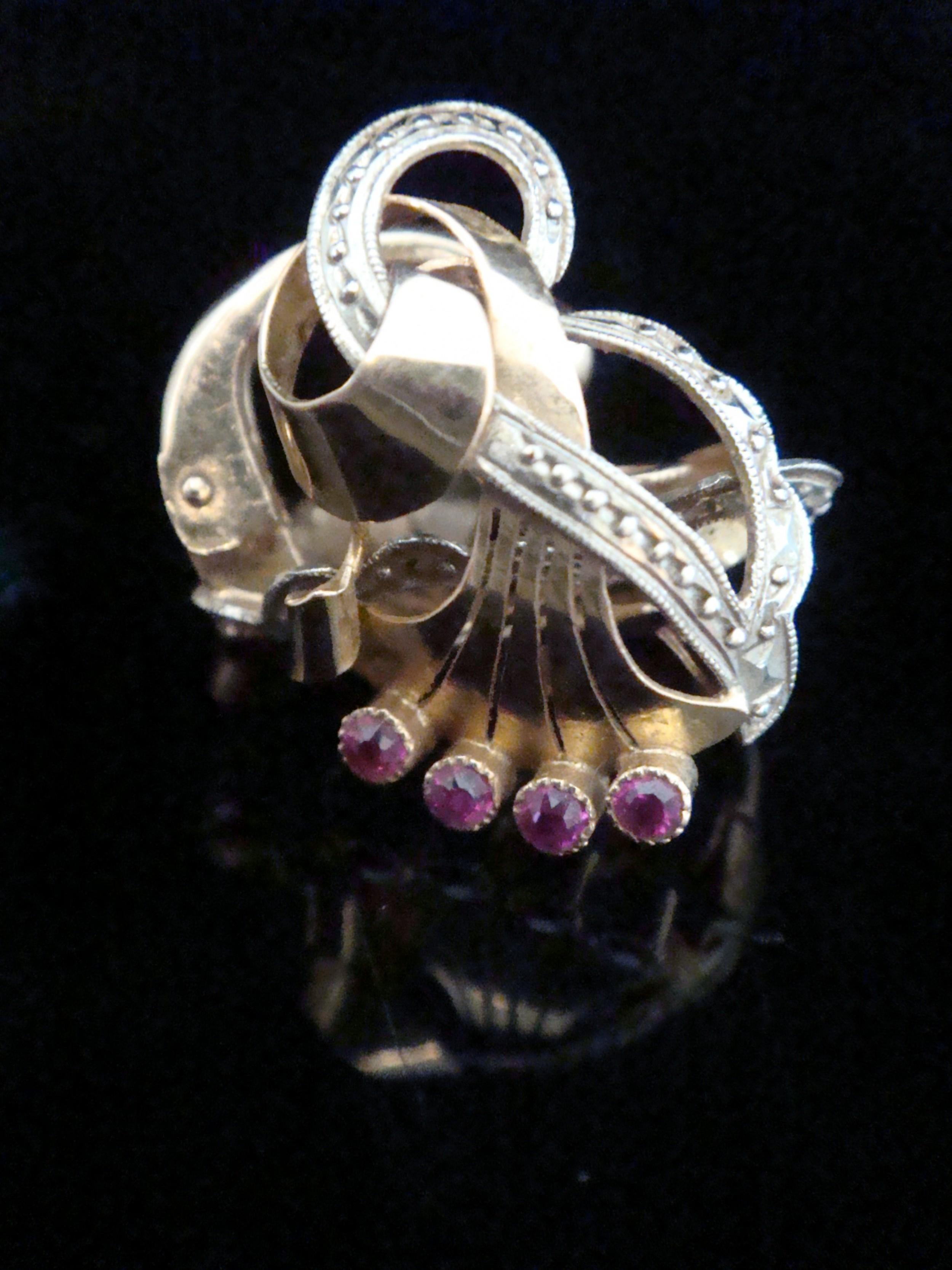 edwardian high carat 18ct ruby fan clip earrings likely french