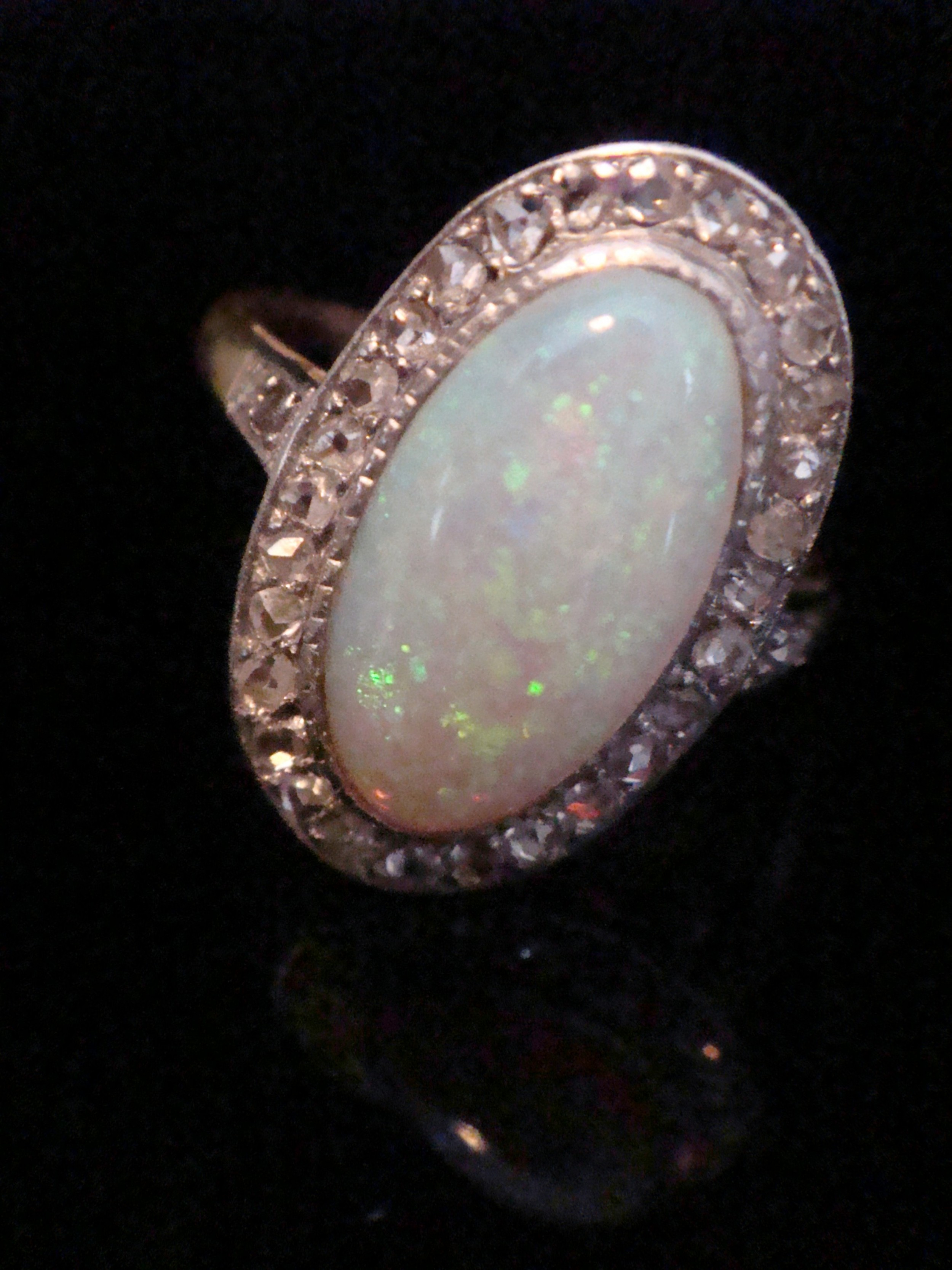 edwardian 18ct platinum natural opal and rose cut diamond cluster ring