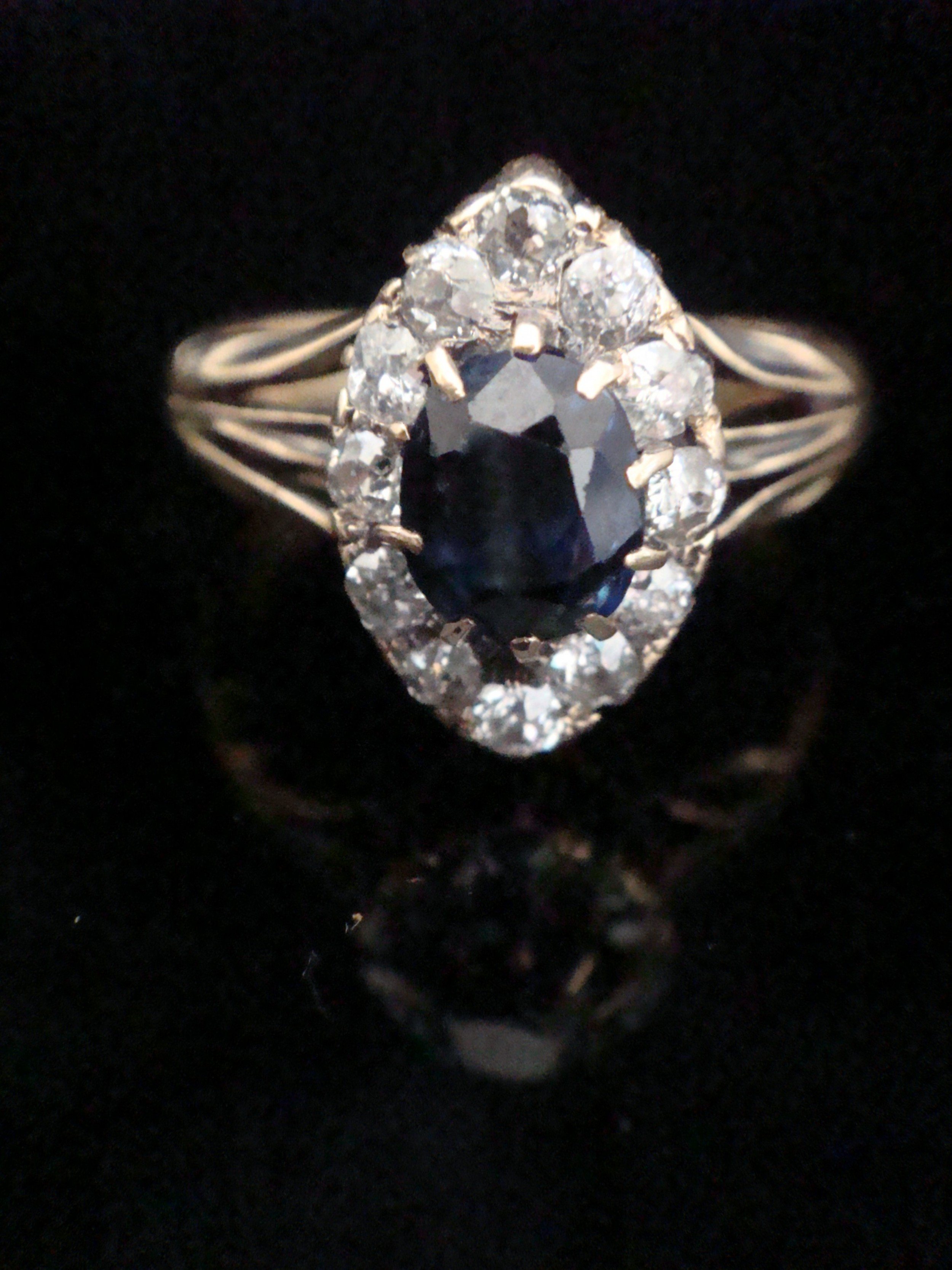 victorian 18ct yellow gold natural sapphire and diamond navette cluster ring