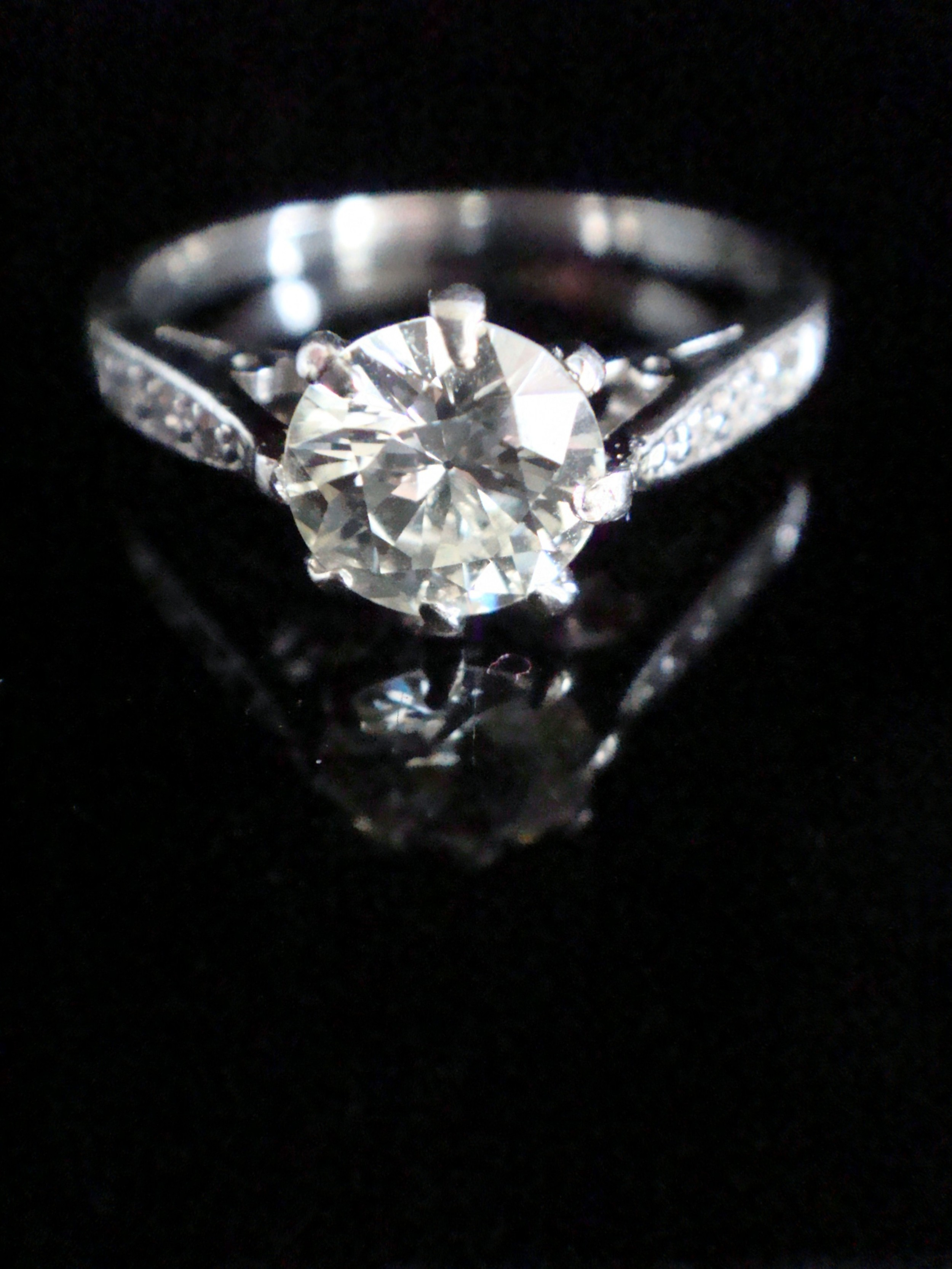edwardian platinum transitional cut diamond solitaire 120ct ring