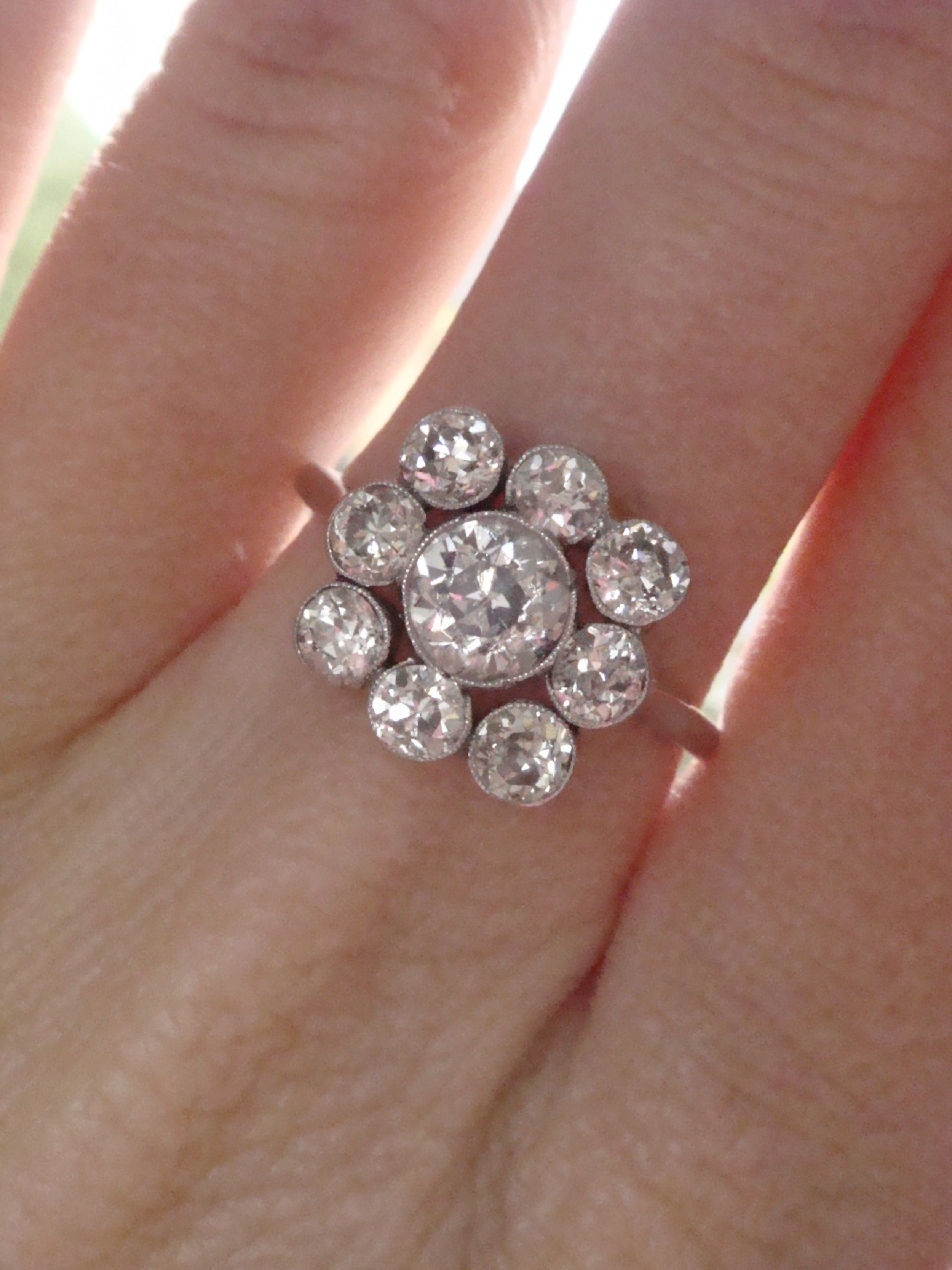 edwardian 18ct white gold old cut diamond cluster ring 190ct