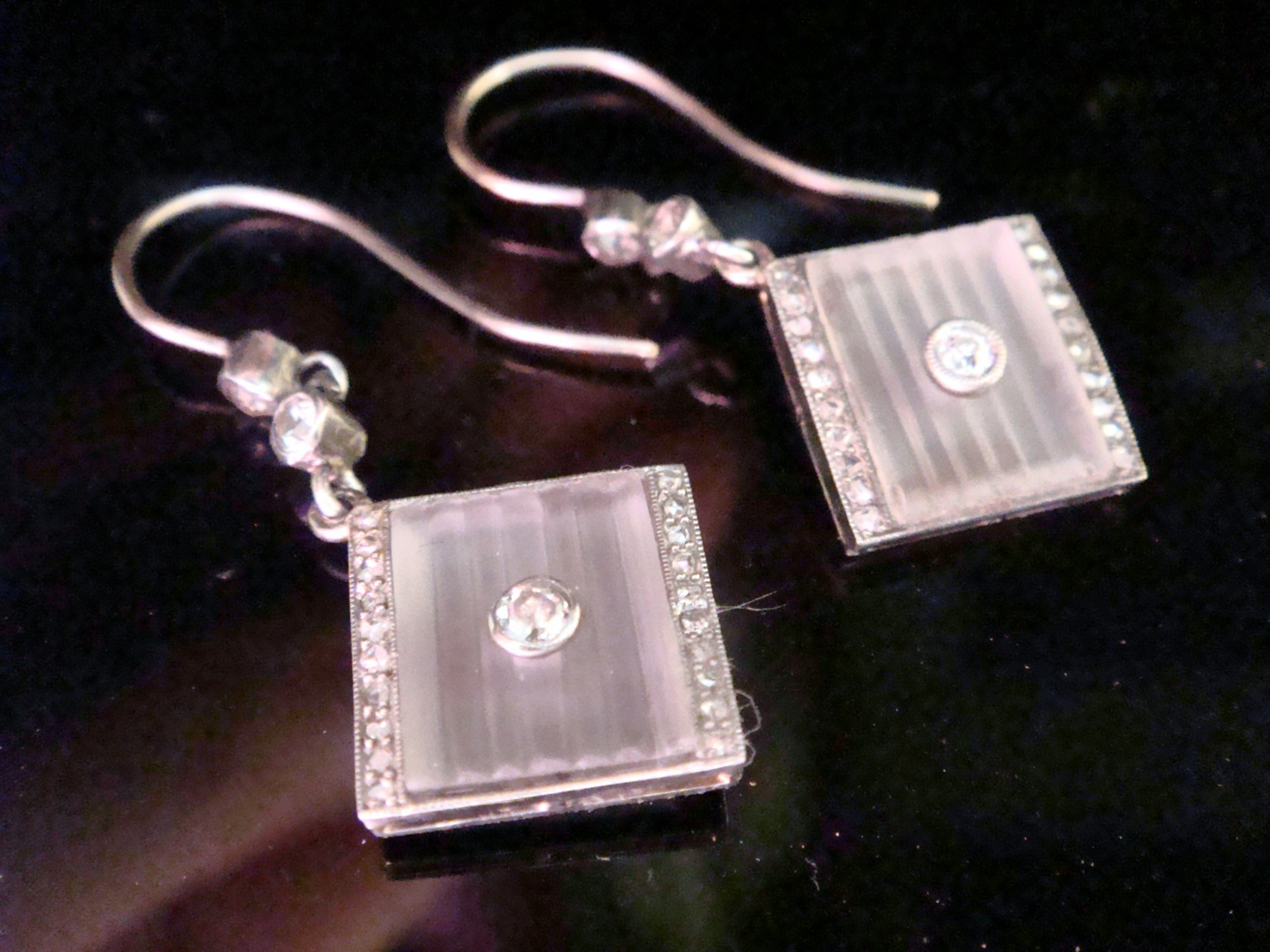 edwardian 18ct white gold rock crystal rose and old cut diamond drop earrings