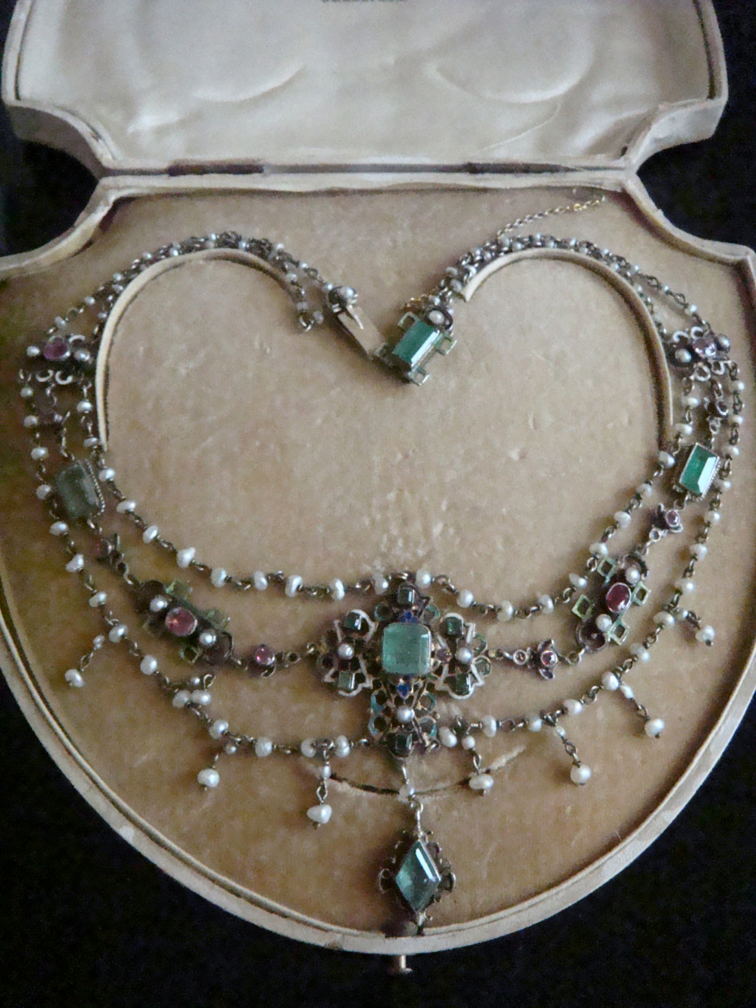 edwardian austro hungarian silver emerald and ruby necklace in original box