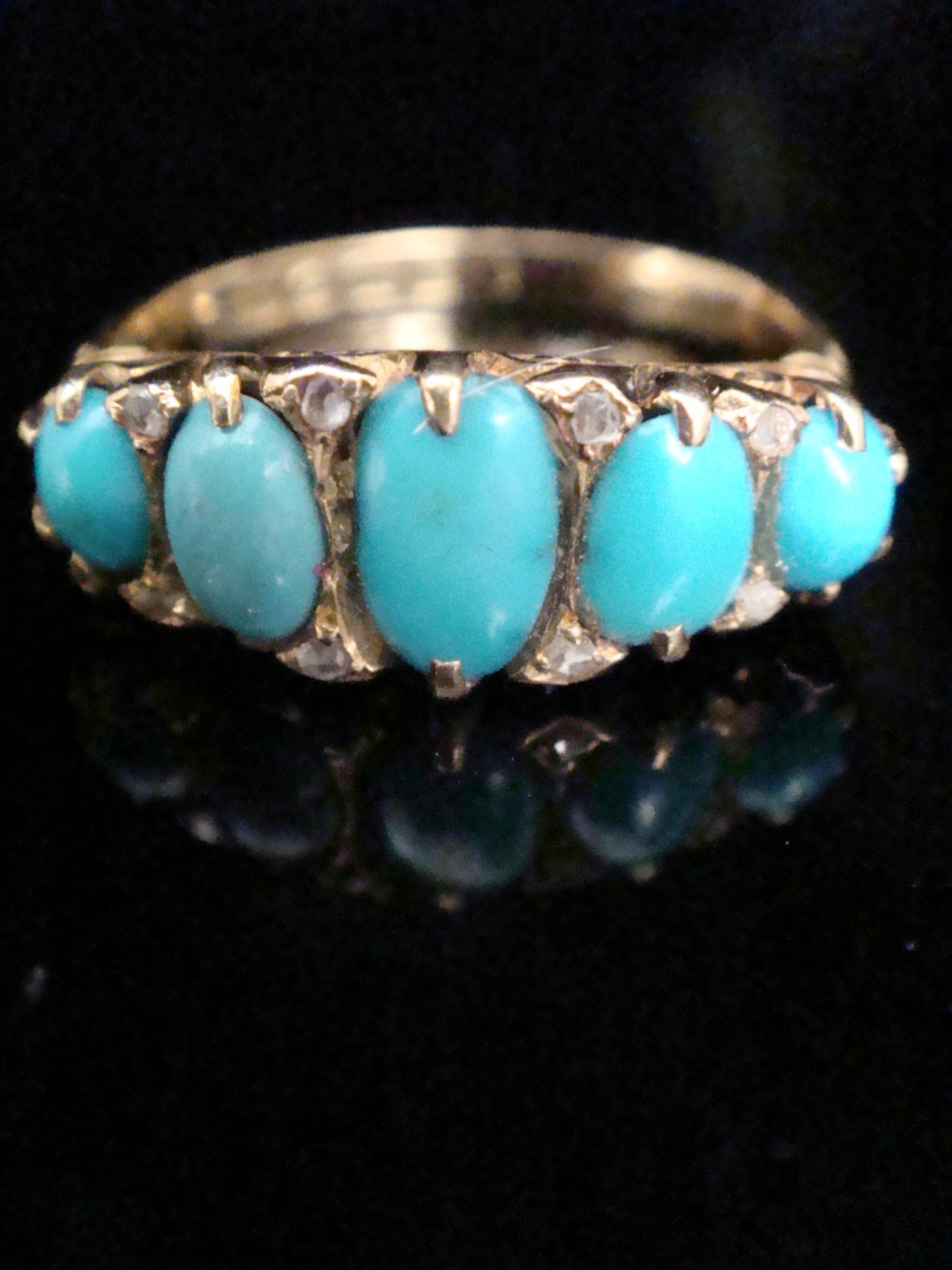 edwardian 18ct turquoise and diamond 5 stone ring