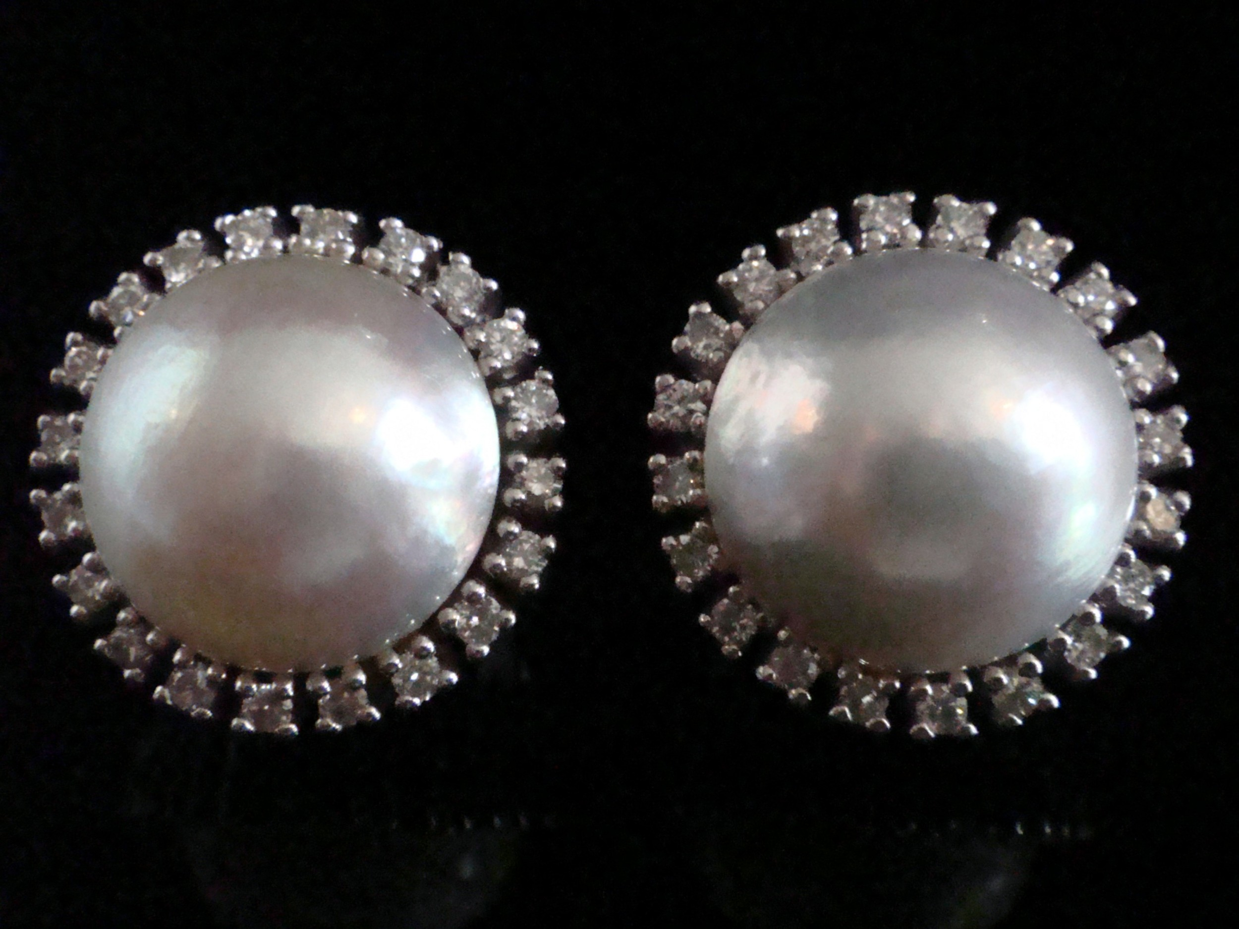 retro 1970s 14ct white gold large made pearl and diamond cluster earring clips