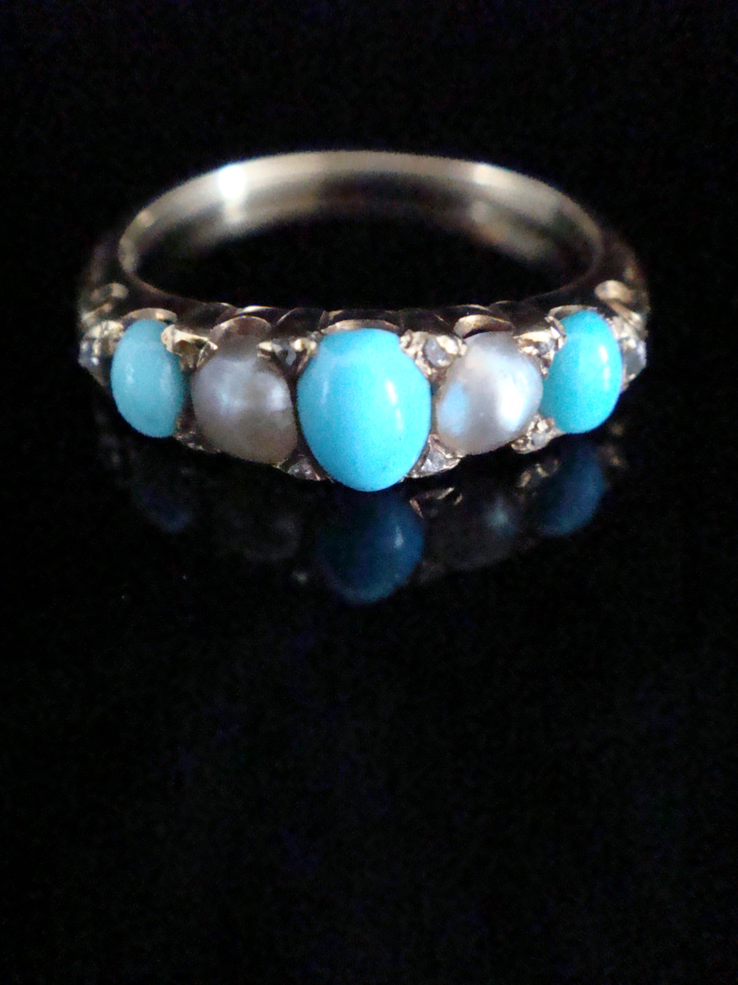 edwardian 18ct yellow gold natural turquoise pearl and diamond chip ring