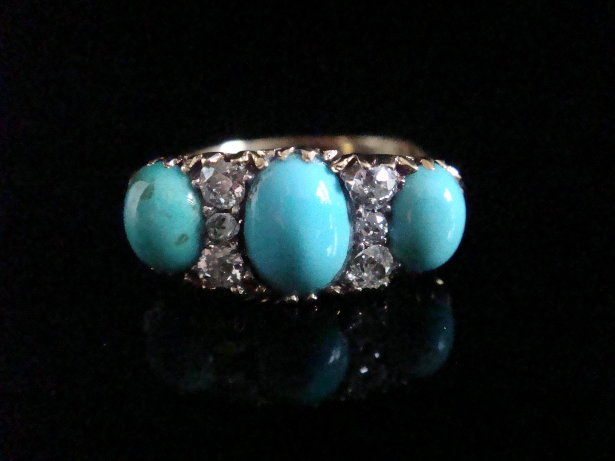 victorian 18ct yellow gold natural turquoise and diamond ring