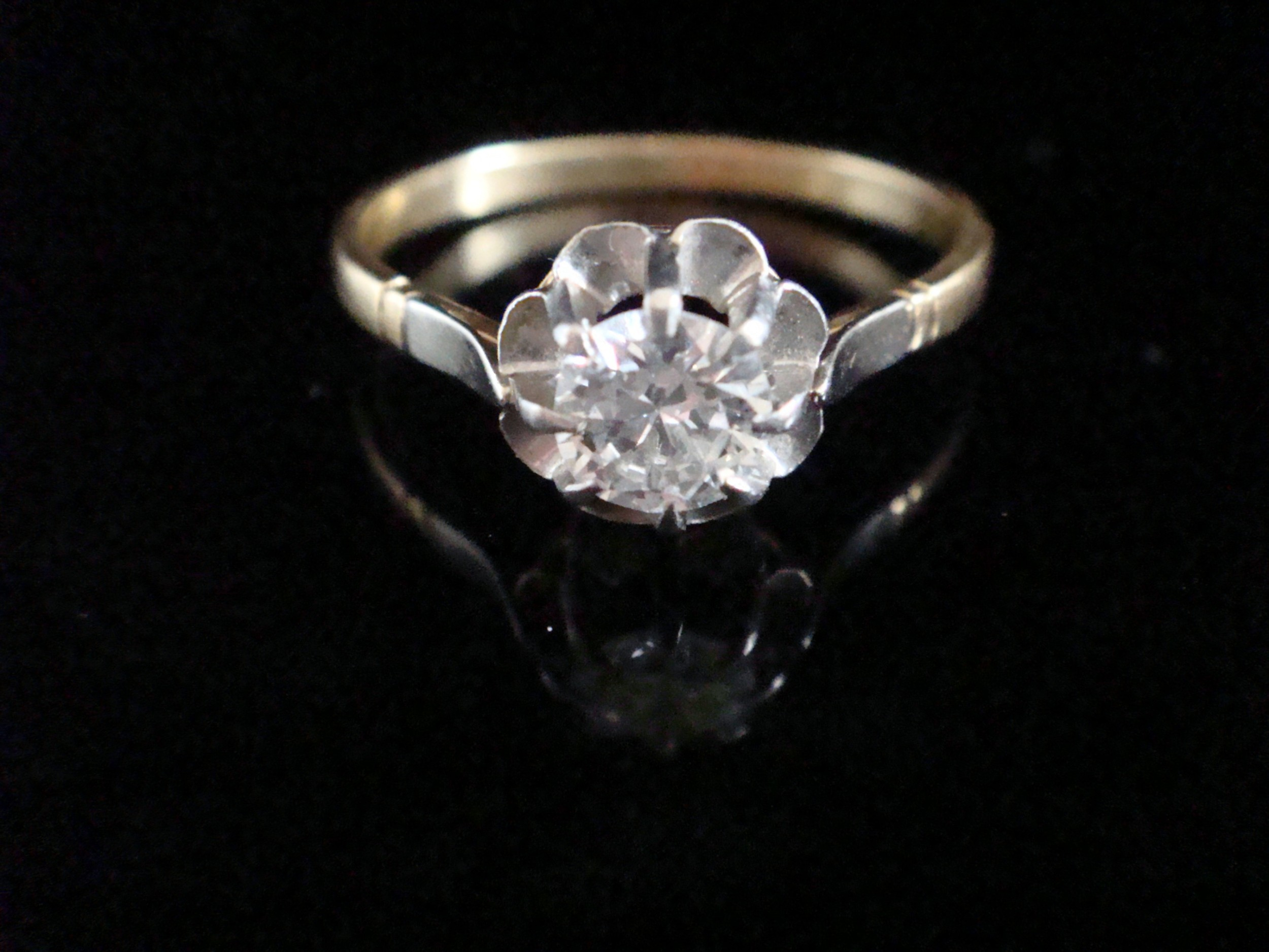 edwardian 18ct platinum french transitional cut diamond solitaire 050ct