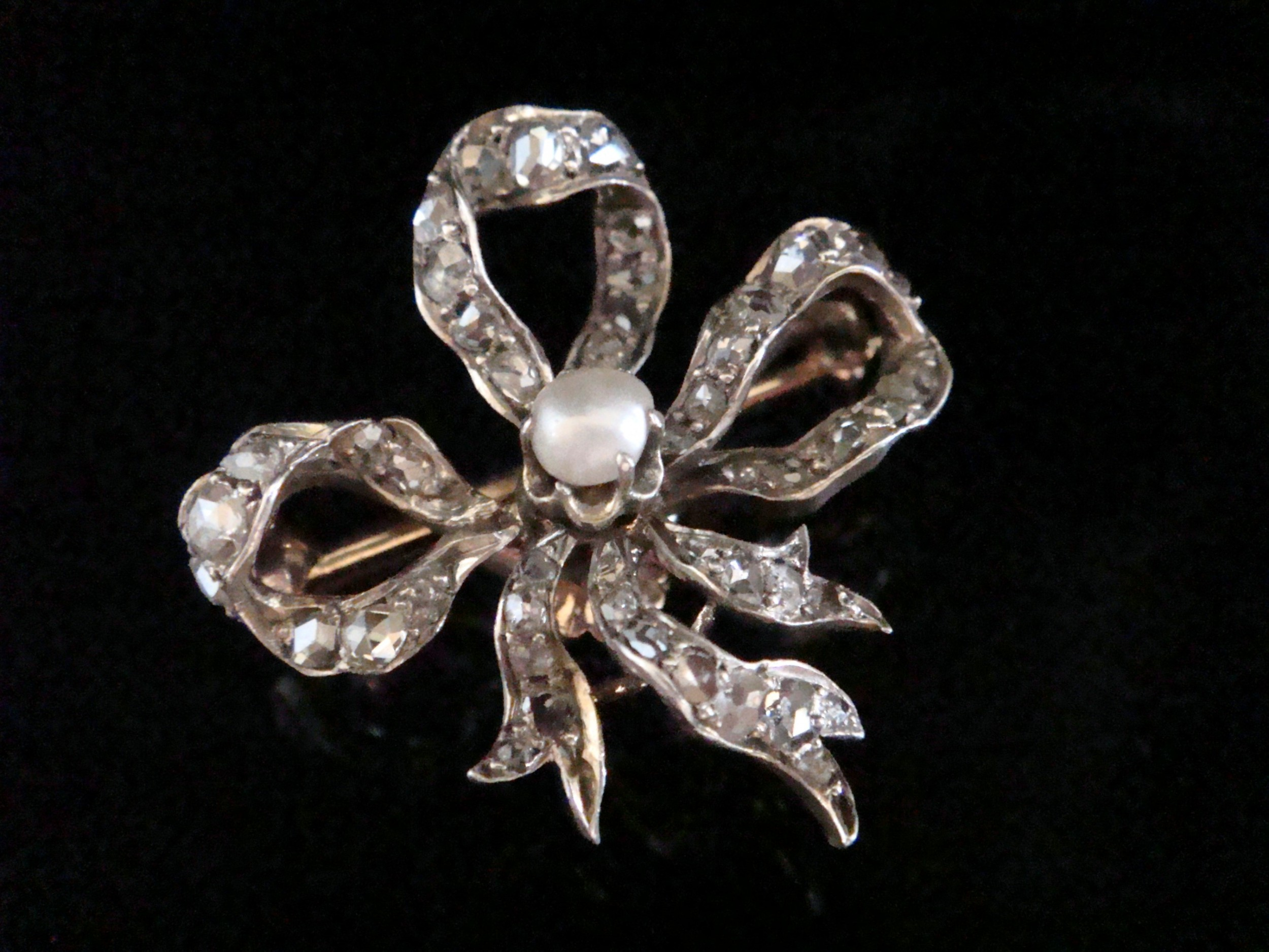 victorian 18ct rose gold old rose cut diamond natural pearl bow pendant and brooch